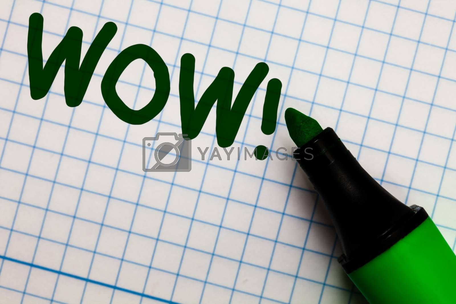 Writing note showing Wow Motivational Call. Business photo showcasing Expression of somebody speechless amazed overjoyed Graph paper marker pen ideas theories practical work important white