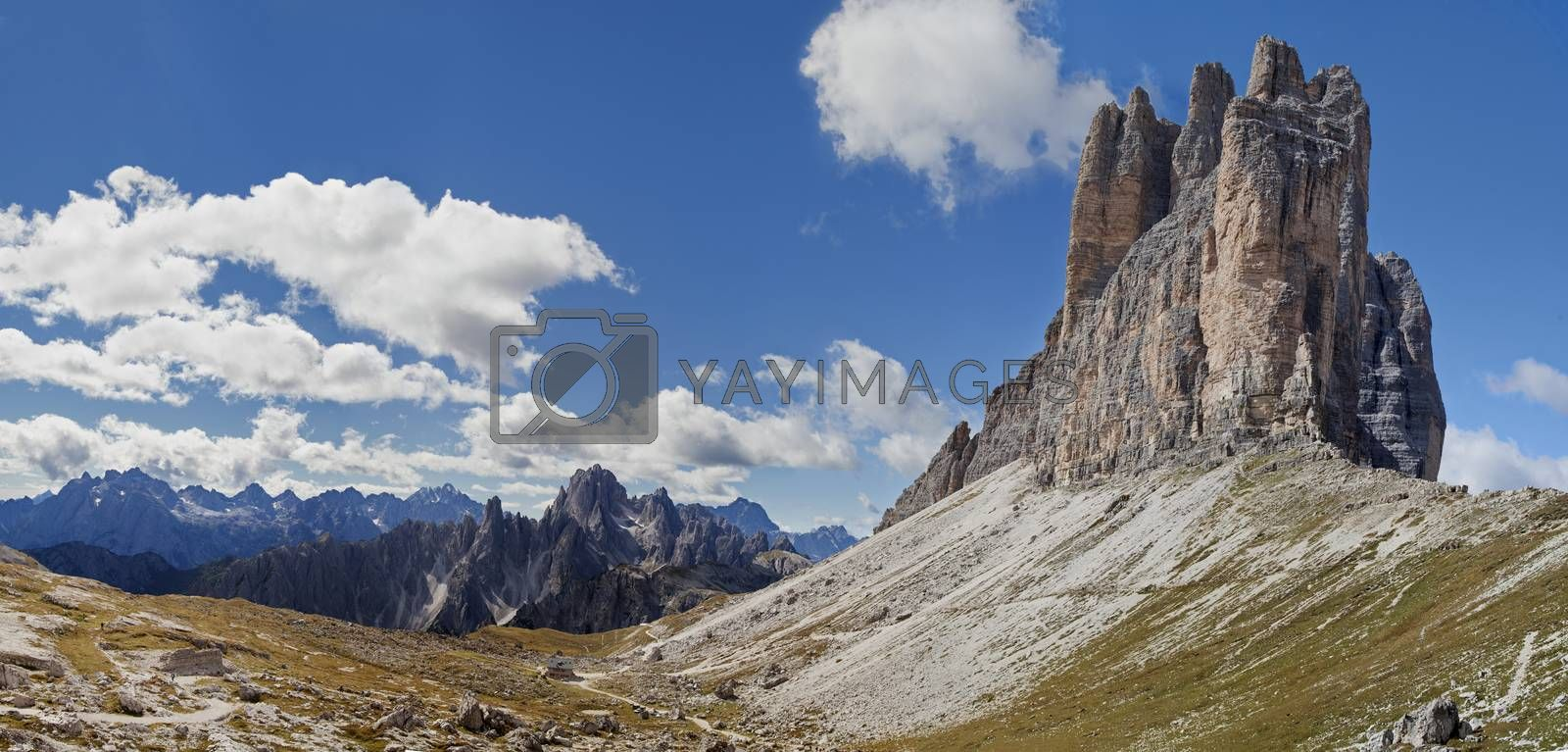 Dolomites mountains landscape on a sunny autumn day