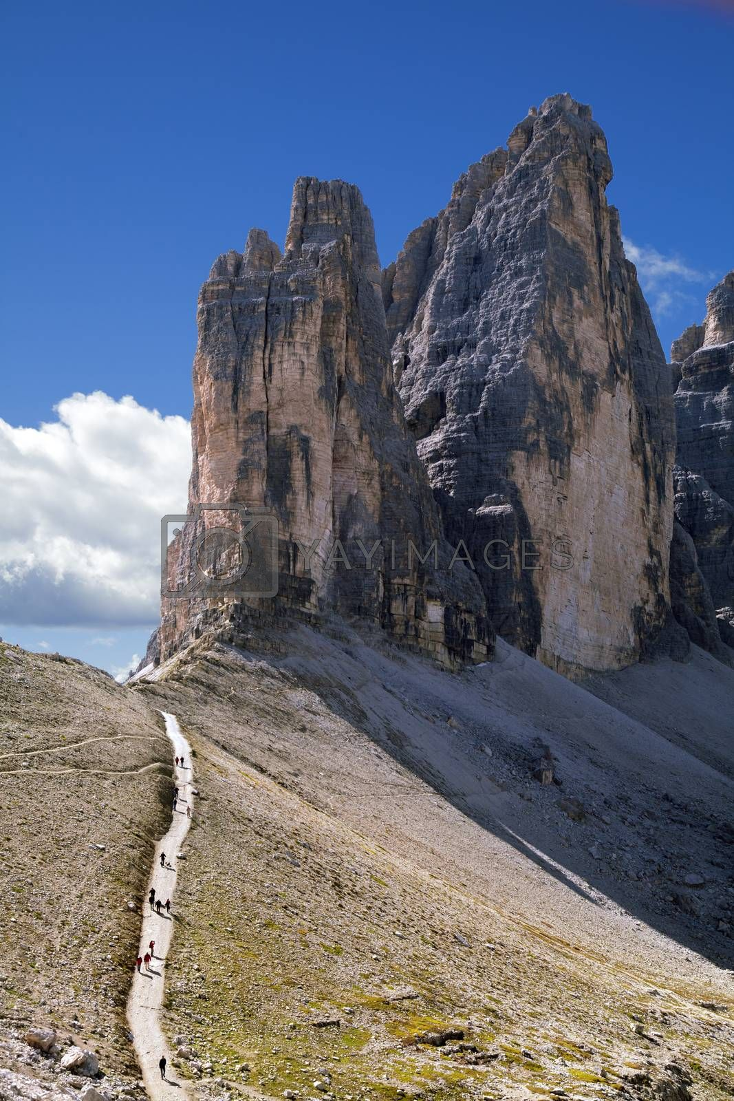 The Tre Cime di Lavaredo, three peaks in the Sexten Dolomites of Northern Italy