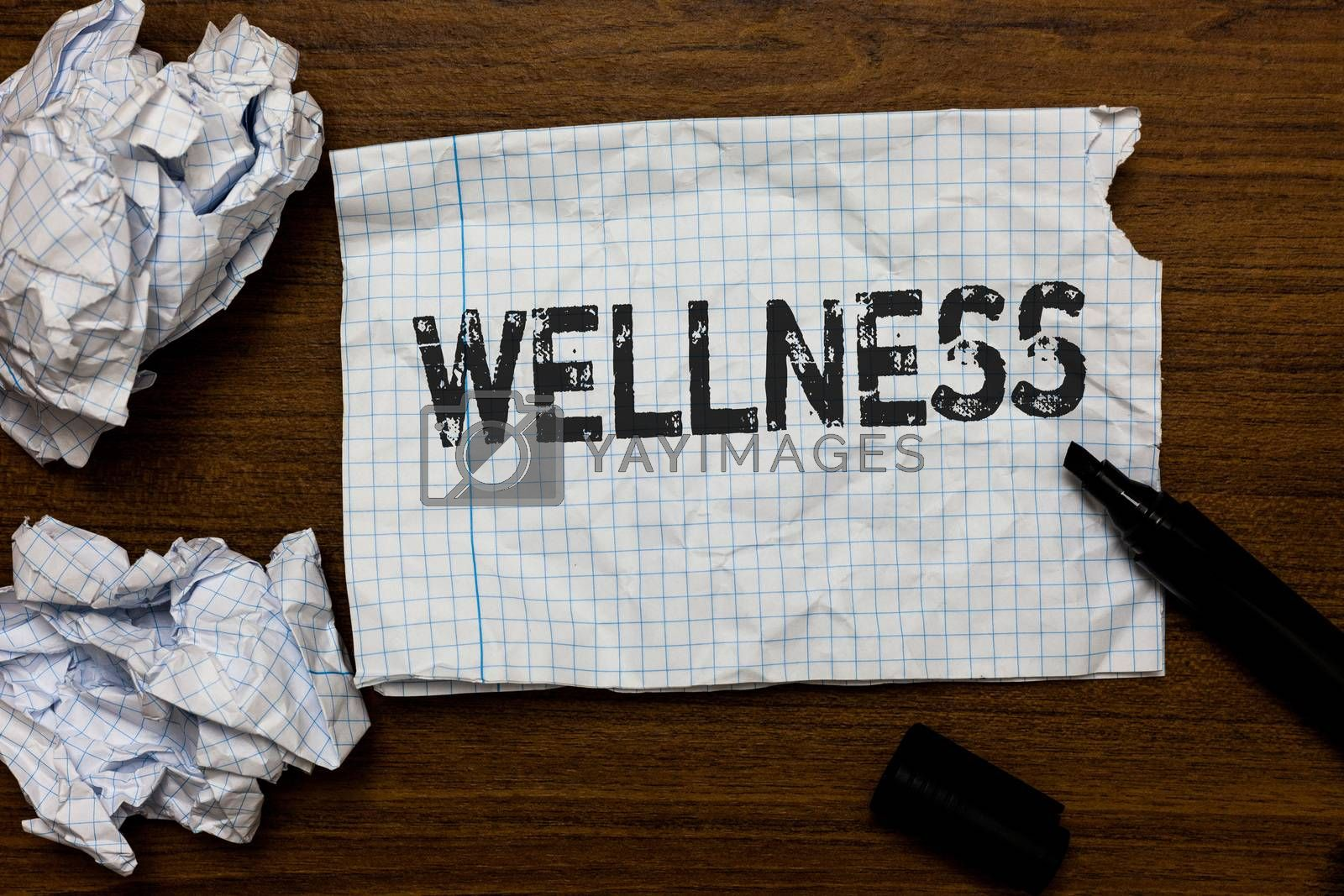 Handwriting text writing Wellness. Concept meaning Making healthy choices complete mental physical relaxation Ideas papers inspiration memories love thoughts mistakes several tries. by Artur Szczybylo