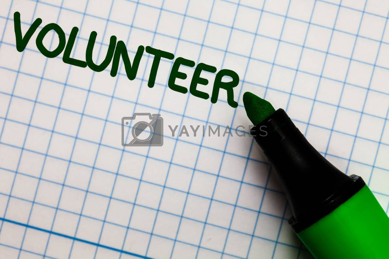 Writing note showing Volunteer. Business photo showcasing Volunteering individual for greater social cause serving others Graph paper marker pen ideas theories practical work important white
