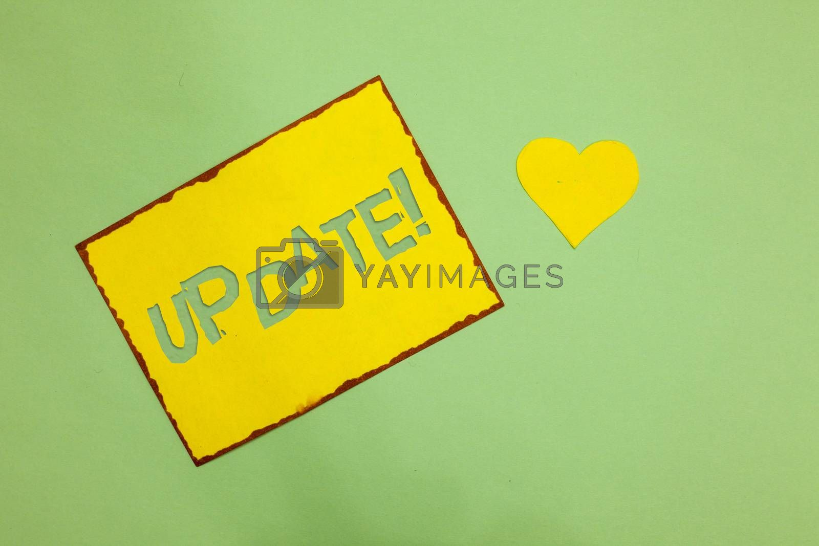 Writing note showing Update Motivational Call. Business photo showcasing Up to date with latest developments updated Nice lime colour grey shadow art paper lovely love hart romantic ideas