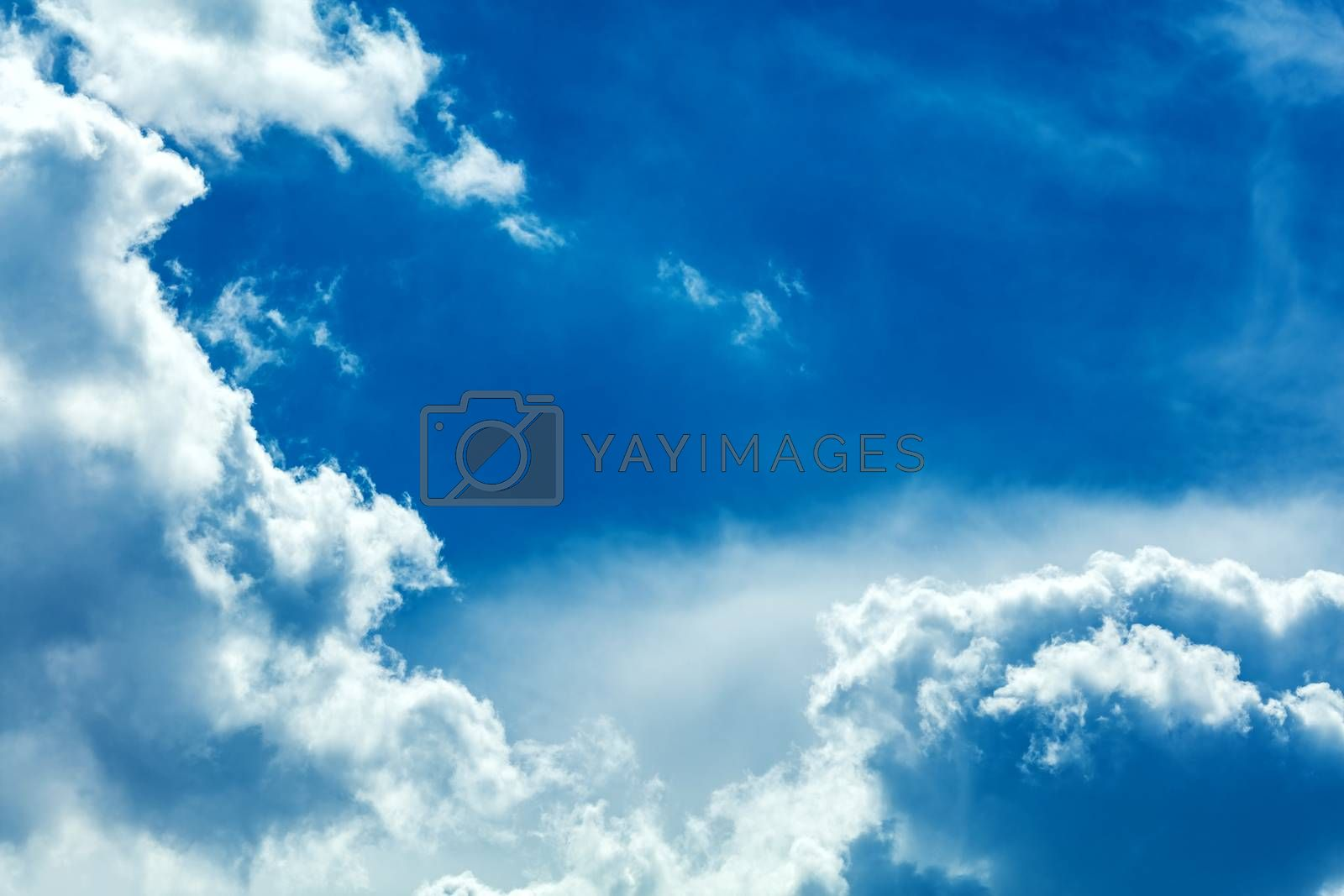 Dramatic cloudscape and sunlight jet view background