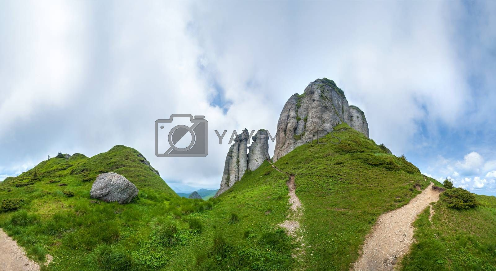 Panoramic view of Mount Ciucas on summer with rock formations, part of the Carpathian Range from Romania