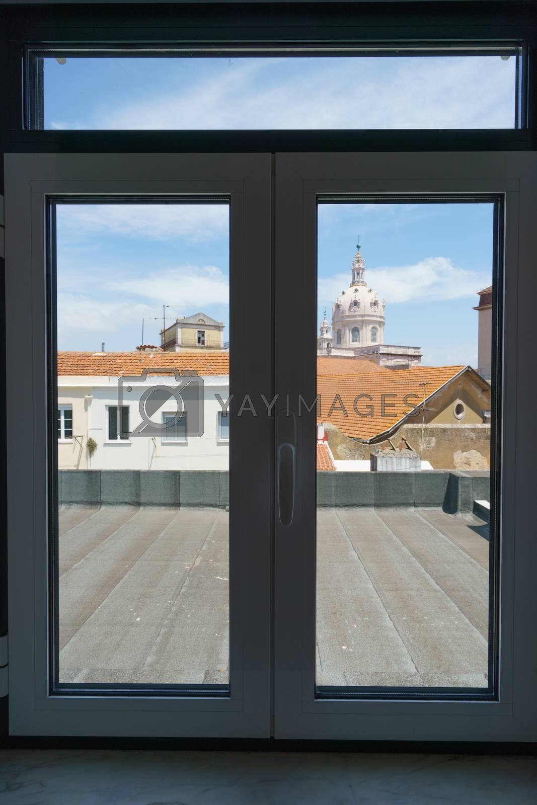 City view through the window