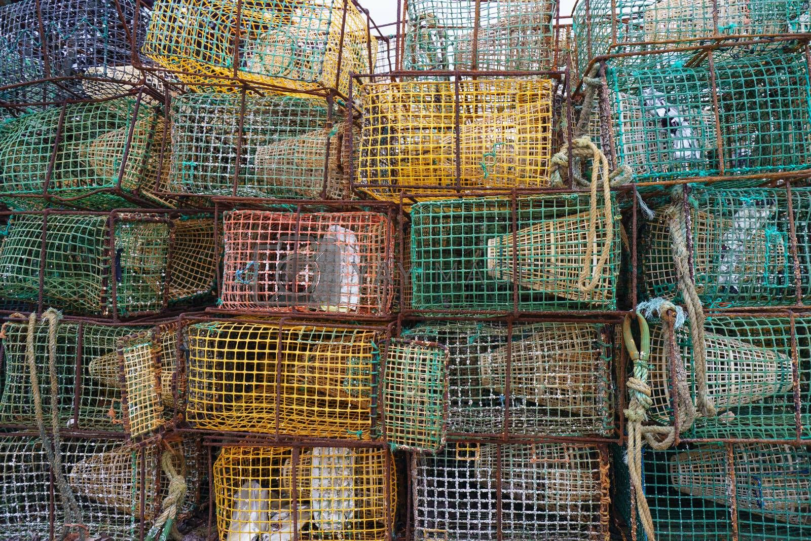 Fish traps had been stacked on the shore