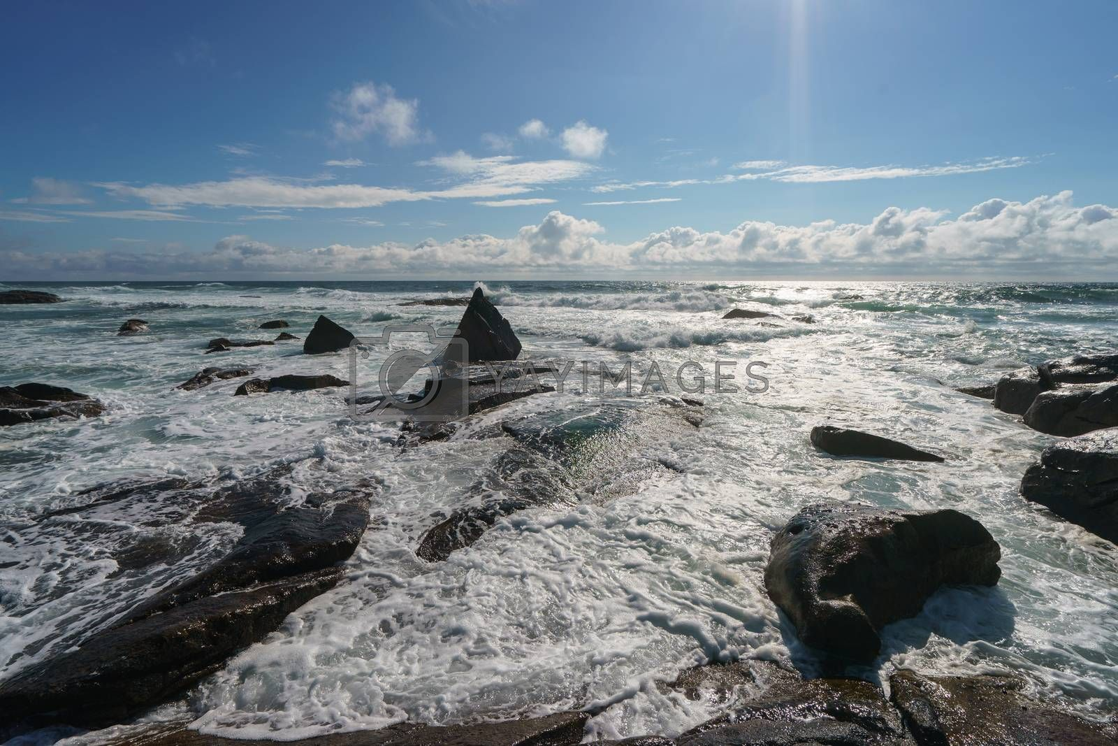Ocean daytime landscape, giving strength. The space is filled with water, spray and ocean noise
