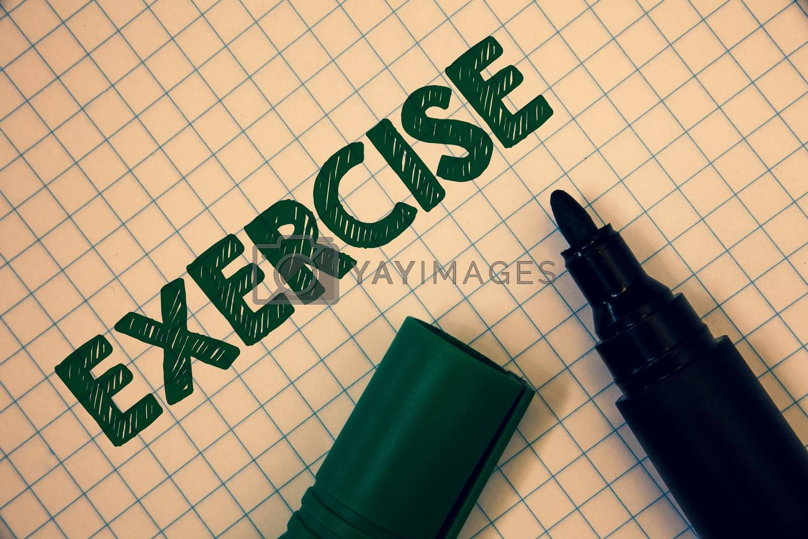 Text sign showing Exercise. Conceptual photo Activity requiring physical effort Bringing into play Training Squared paper open marker ideas messages inspirational thoughts feelings