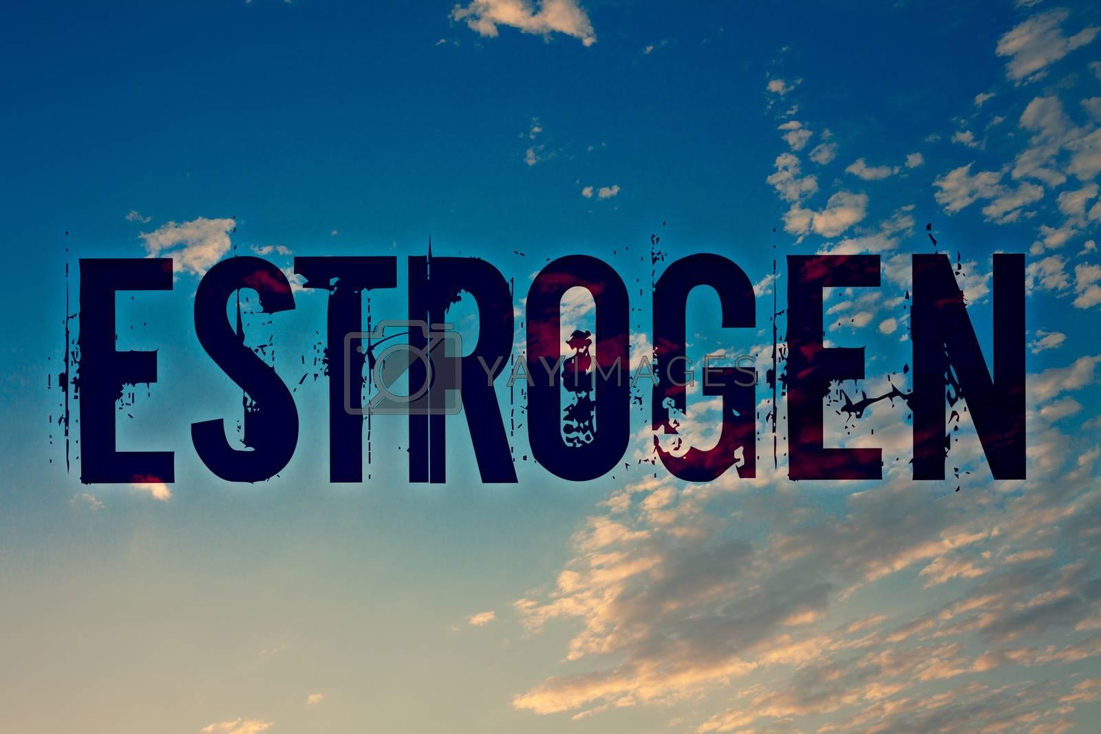Text sign showing Estrogen. Conceptual photo Group of hormones promote the development of female characteristics Ideas messages blue clouds cloudy sky splatters natural motivational