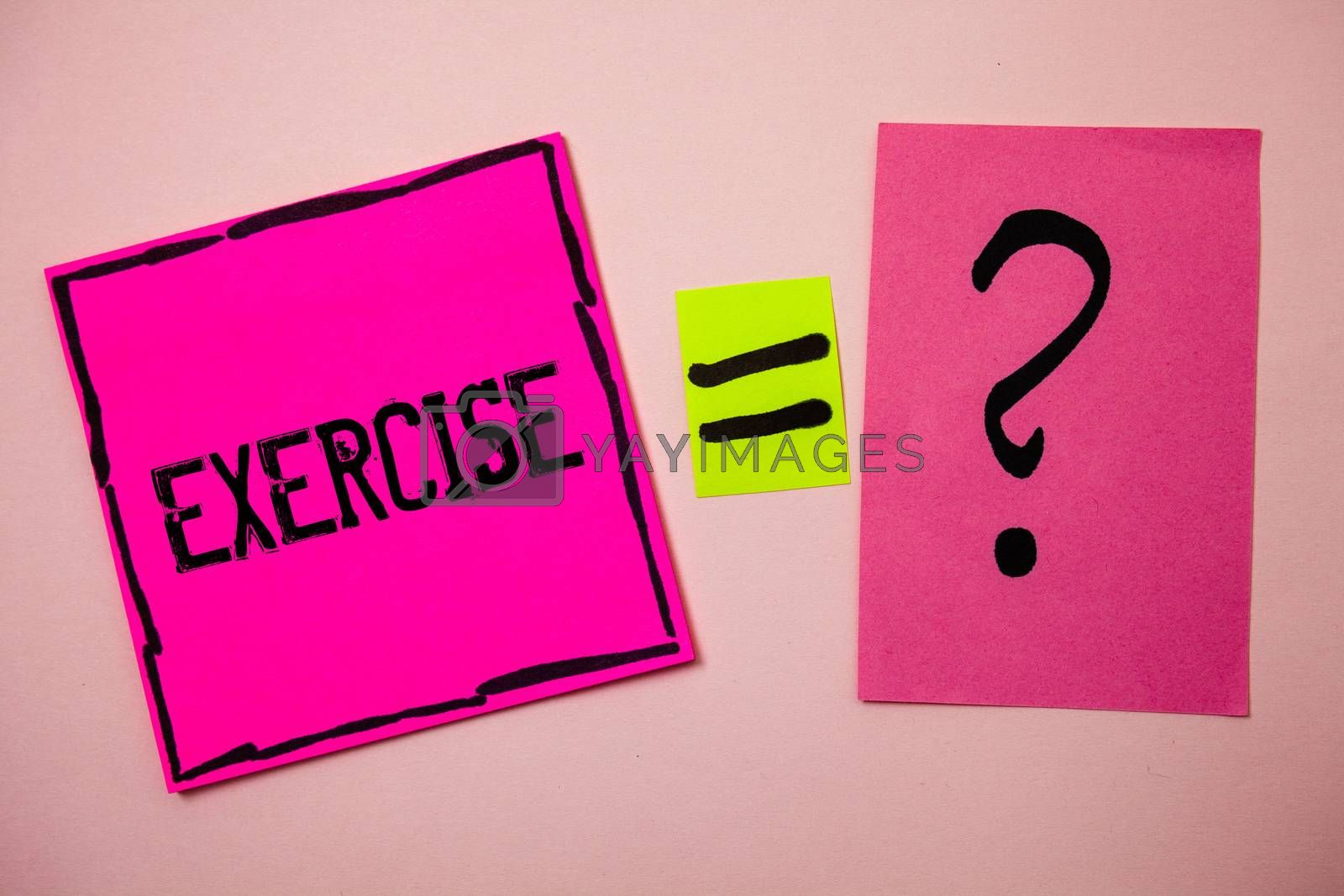 Word writing text Exercise. Business concept for Activity requiring physical effort Bringing into play Training Ideas messages doubts equal sign question marks questions inspirational