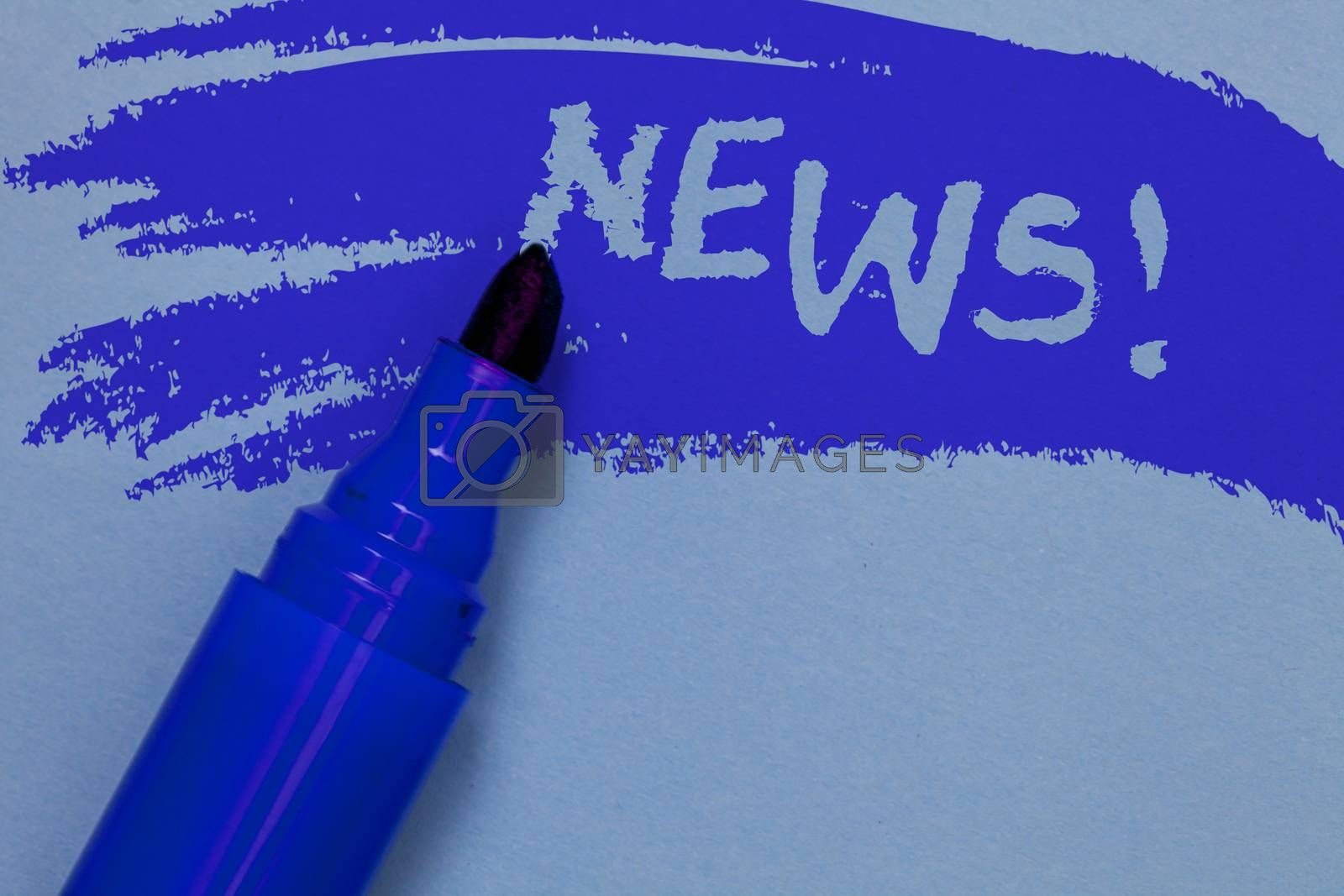 Writing note showing News Motivational Call. Business photo showcasing Report recent events Previously unknown information Bold blue marker colouring sketch work type idea text plain background