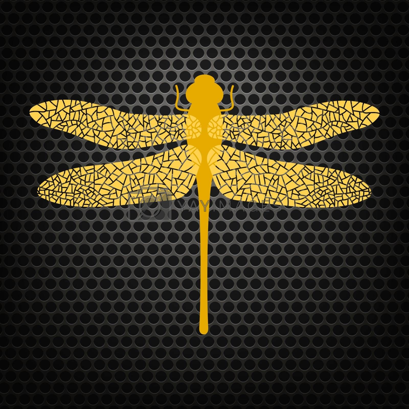 Colored Stilized Dragonfly Isolated on Perforated Background. Insect Logo Design. Aeschna Viridis