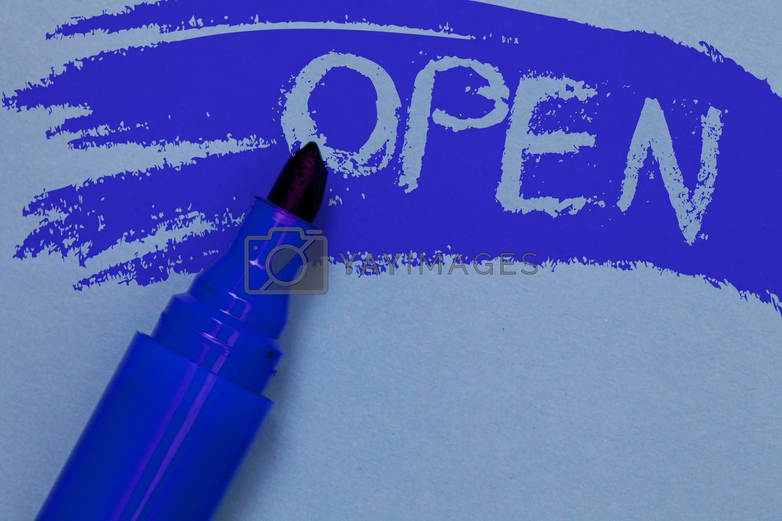 Writing note showing Open. Business photo showcasing Allow things to pass through or for immediate use Contrary of closed Bold blue marker colouring sketch work type idea text plain background