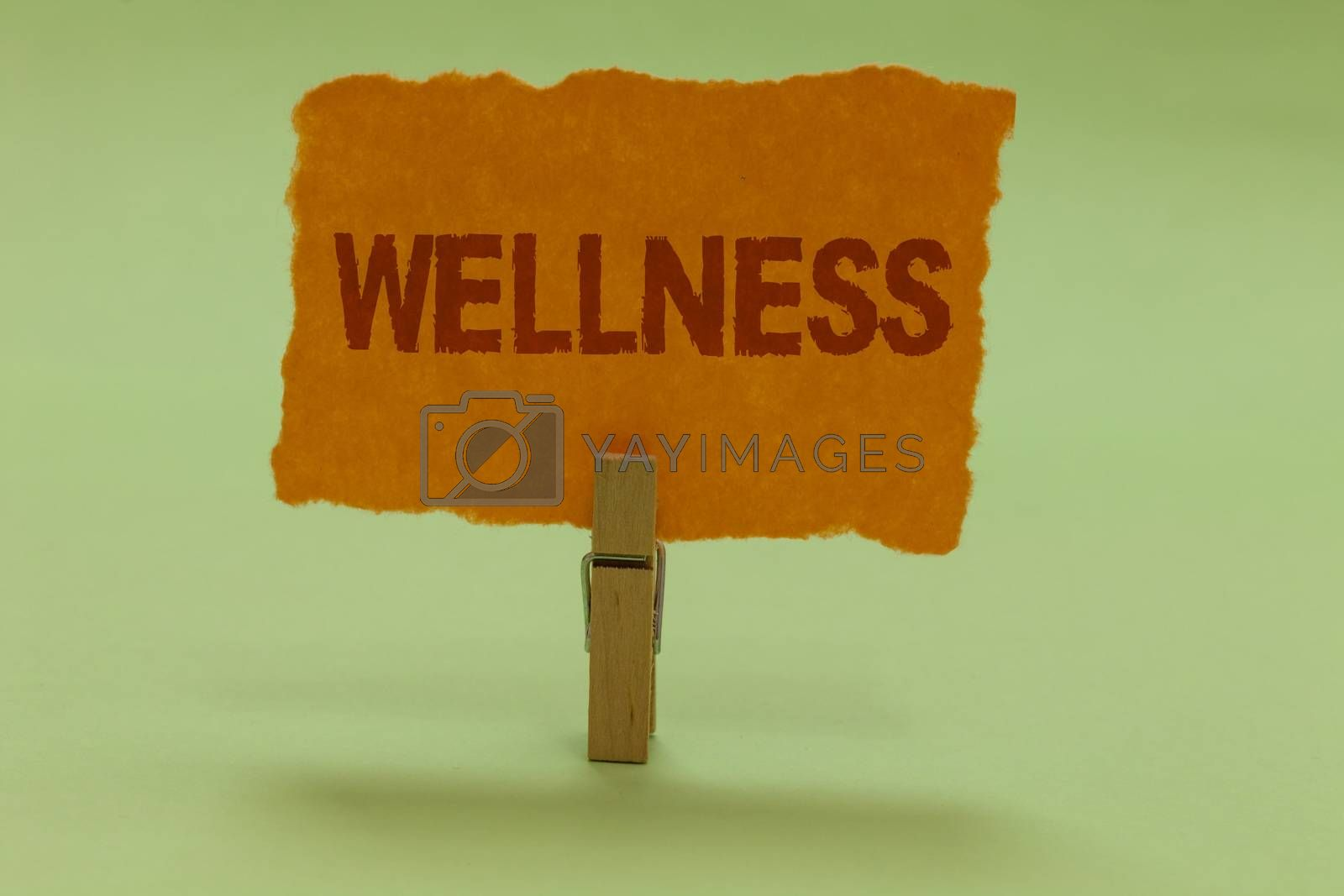 Writing note showing Wellness. Business photo showcasing Making healthy choices complete mental physical relaxation Nice lime colour grey shadow art work board important clip paperclip