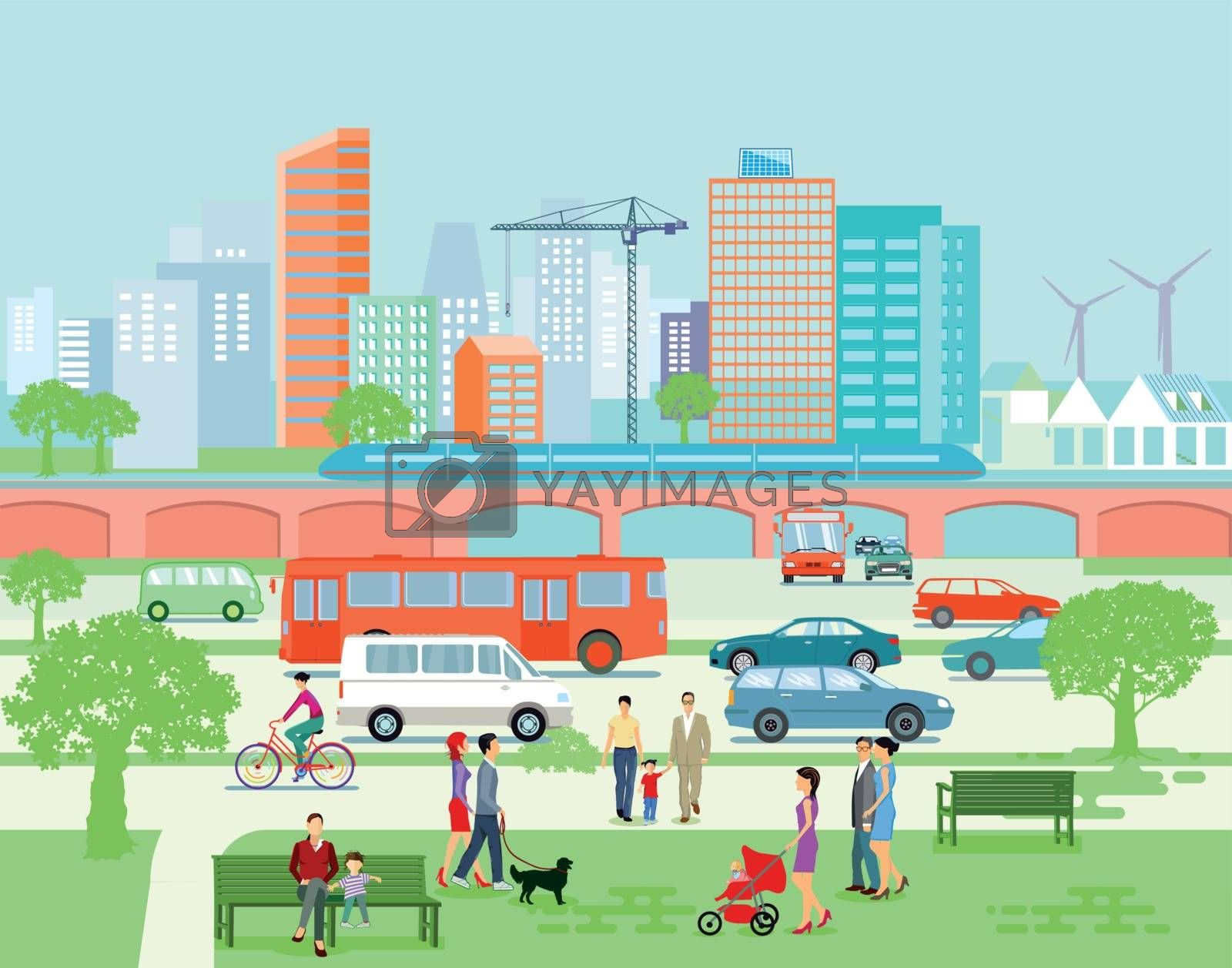 Large city panorama with road traffic and pedestrians