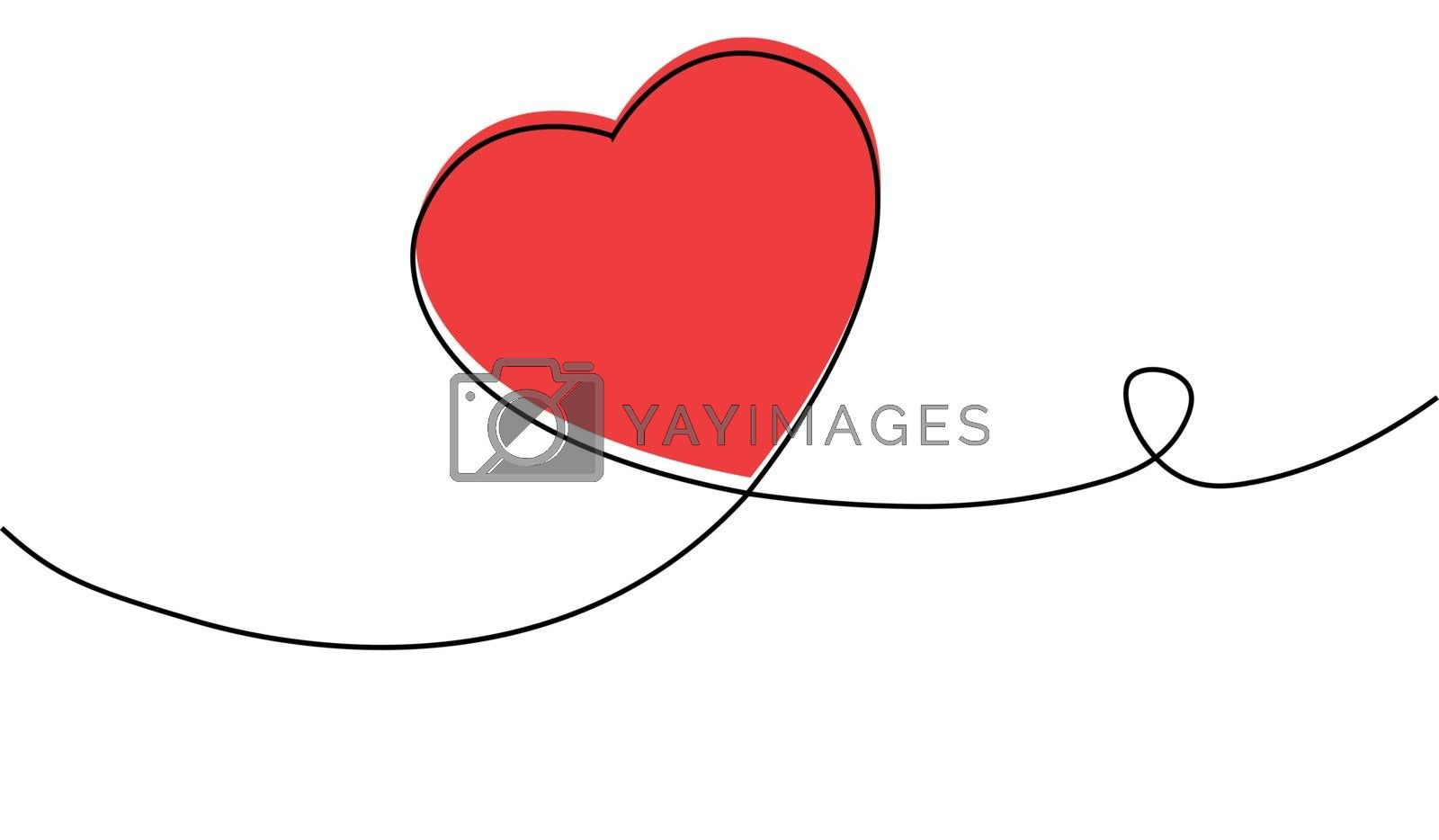 Continuous one line drawing of red heart isolated on white background. EPS10 vector illustration for banner, template, poster, web, app, valentine's card, wedding. Black thin line image of heart icon.