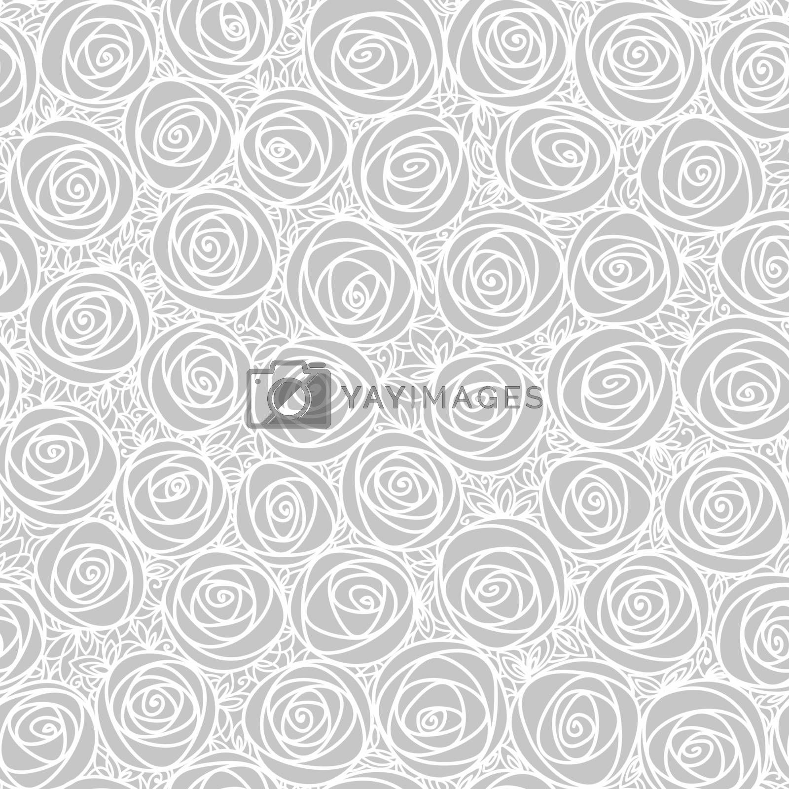 Light seamless floral pattern. Outline stylized roses. Abstract background. Doodle hand drawn line art design element.