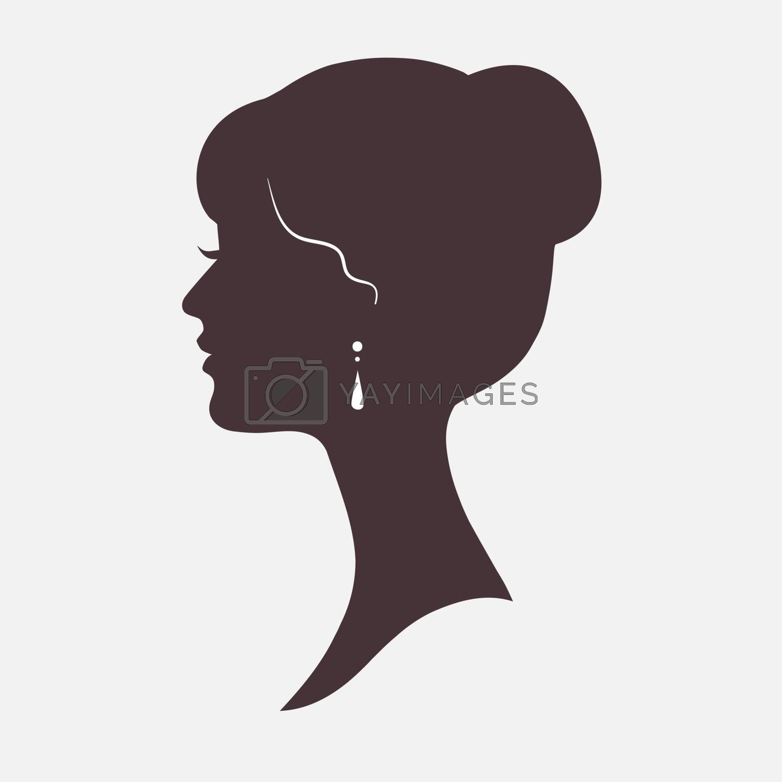 Woman Face Silhouette with Stylish Hairstyle icon