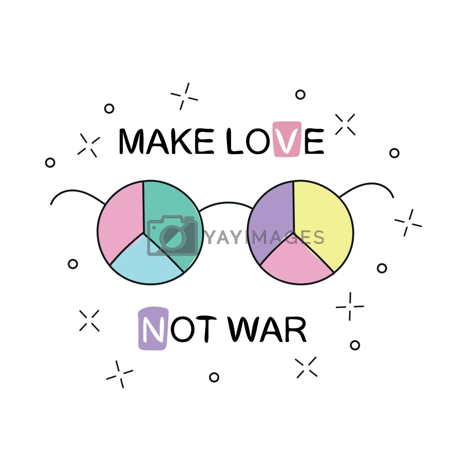 Make love not war. Rainbow hippie sun glasses with peace sign. Vector illustration over white background. Design for t-shirt and prints