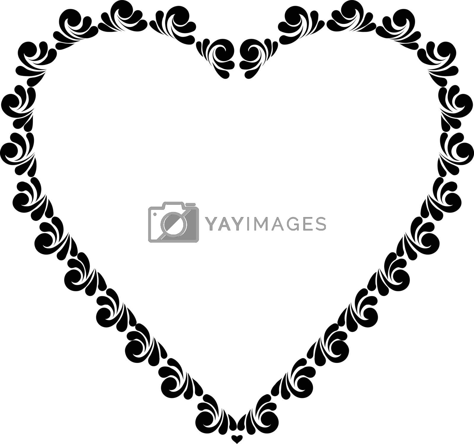 Vector illustration of black painted heart, love symbol