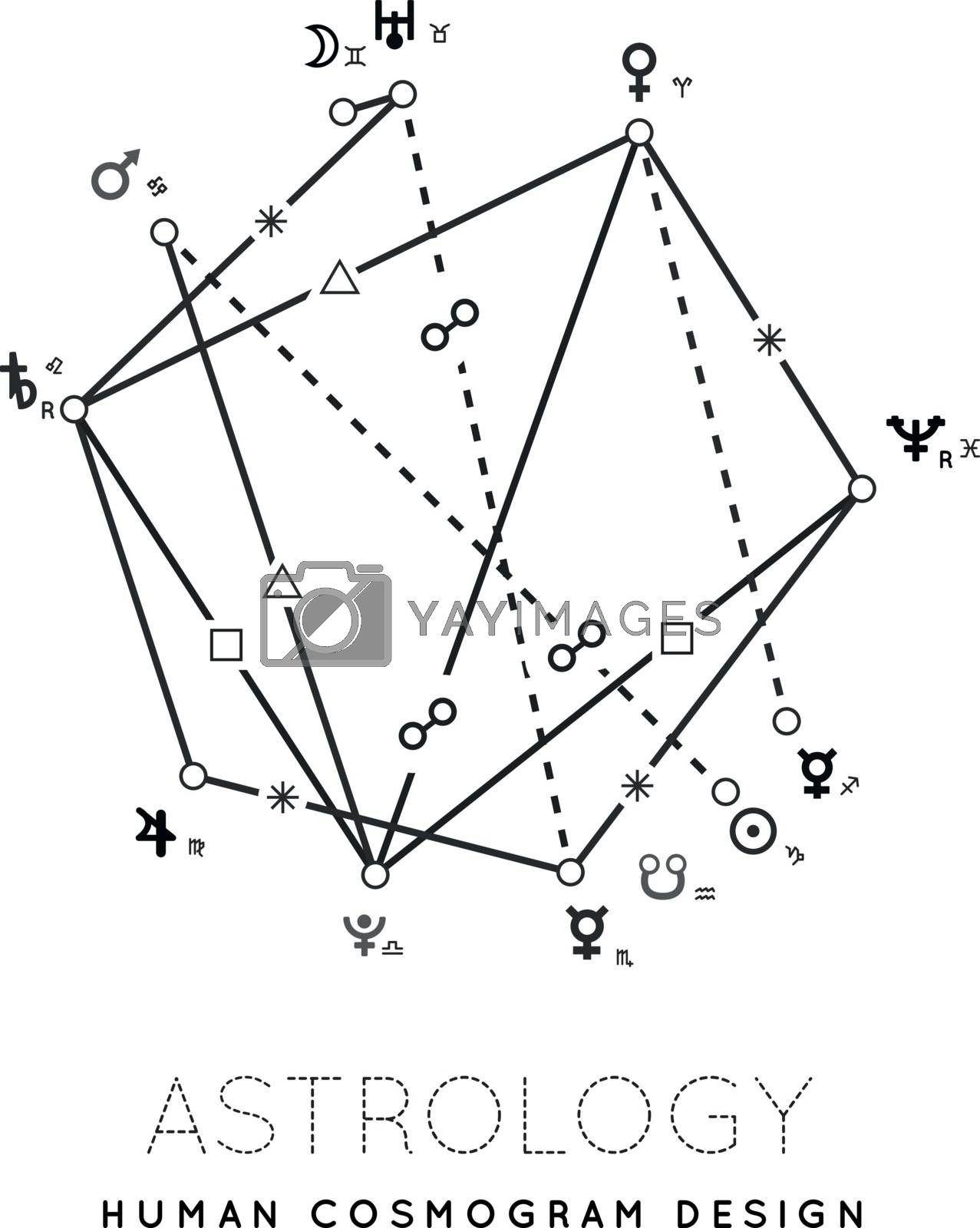 Astrology vector background. Example of the cosmogram the planets in the houses and aspects between them