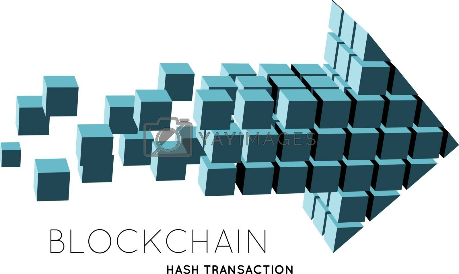 Blockchain vector illustration in the form of cubes in the form of an arrow. The concept of information transfer in space or net