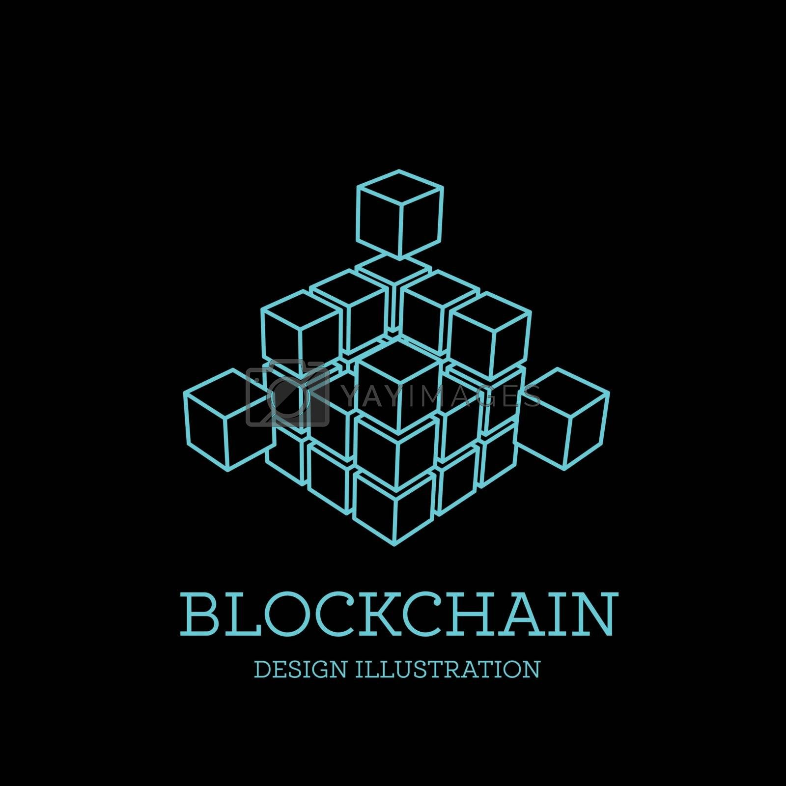 Blockchain vector illustration in the form of cubes. Block chain logo design. The concept of information transfer in space or net