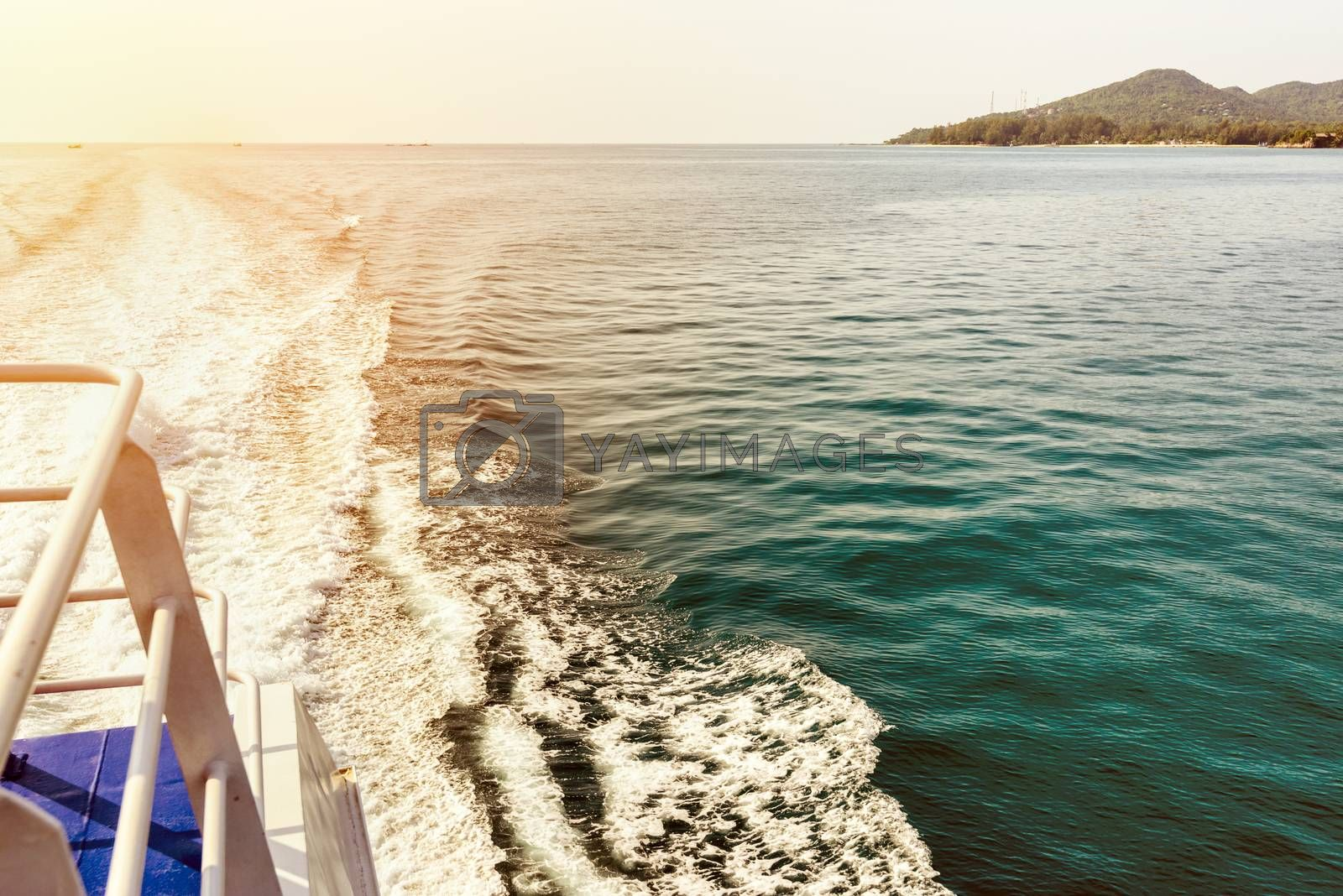Vintage style beautiful natural landscape of sky and blue sea while travel by speed boat in summer to Ko Pha Ngan island in Gulf of Thailand is a famous attractions of Surat Thani province, Thailand