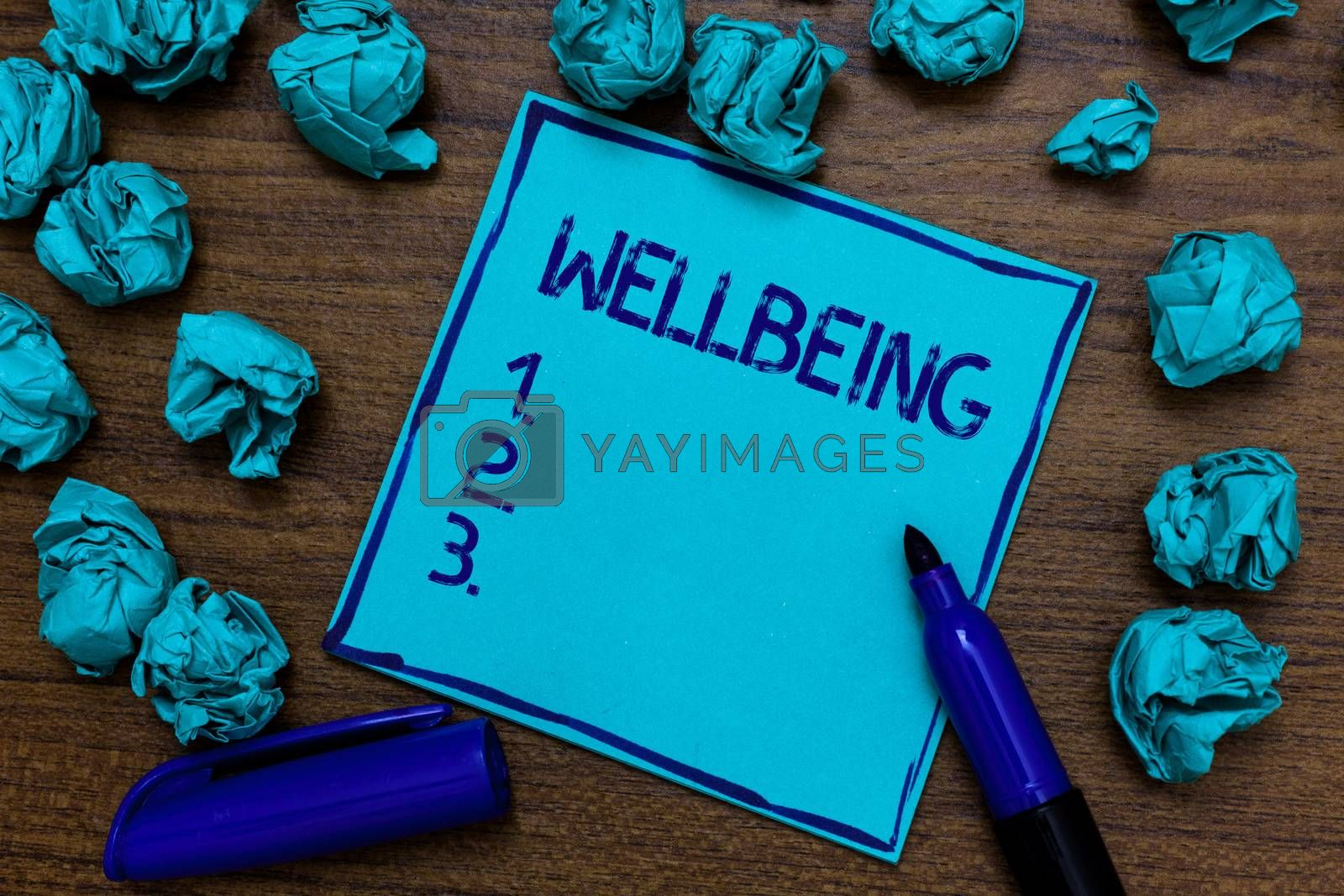 Handwriting text Wellbeing. Concept meaning Healthy lifestyle conditions of people life work balance Cyan paper imagination idea thoughts mistakes several tries marker pen. by Artur Szczybylo