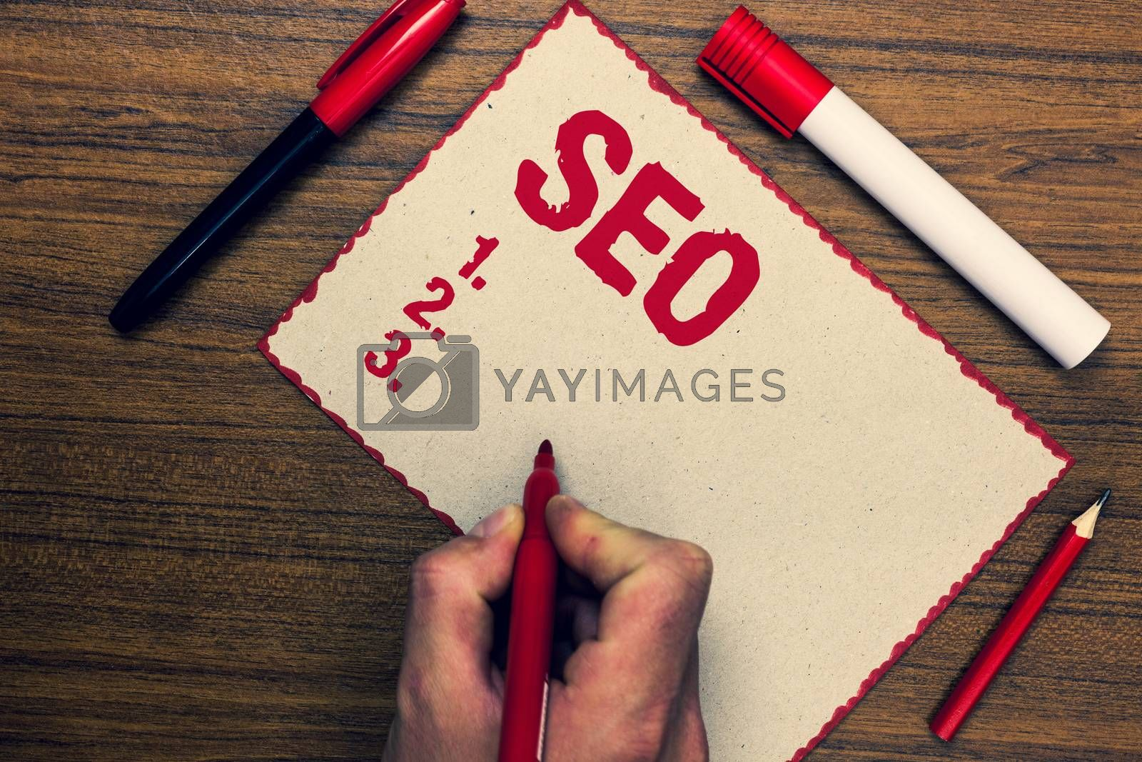 Handwriting text Seo. Concept meaning Search engine optimization increase in online marketing channel Three marker pens nice small pitch art paper lovely love ideas wood shadow