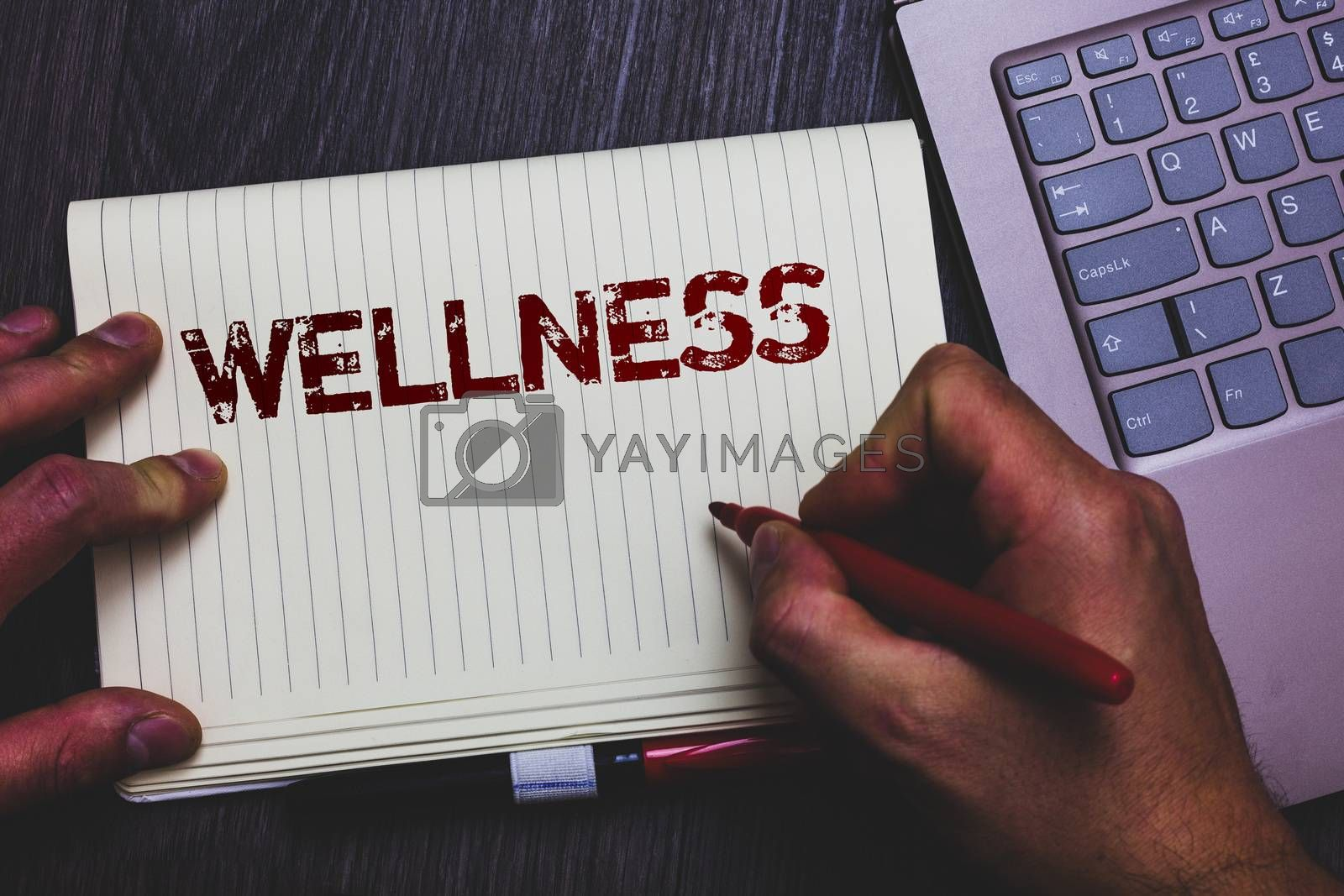 Word writing text Wellness. Business concept for Making healthy choices complete mental physical relaxation Notepad marker pen ideas thoughts laptop keypad key computer netbook