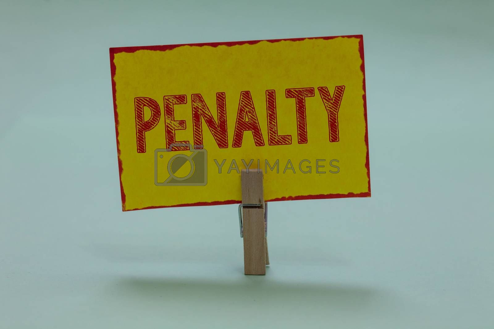 Conceptual hand writing showing Penalty. Business photo text Punishment imposed for breaking a law rule or contract Sports term Display yellow sticky card convey messages idea notice office