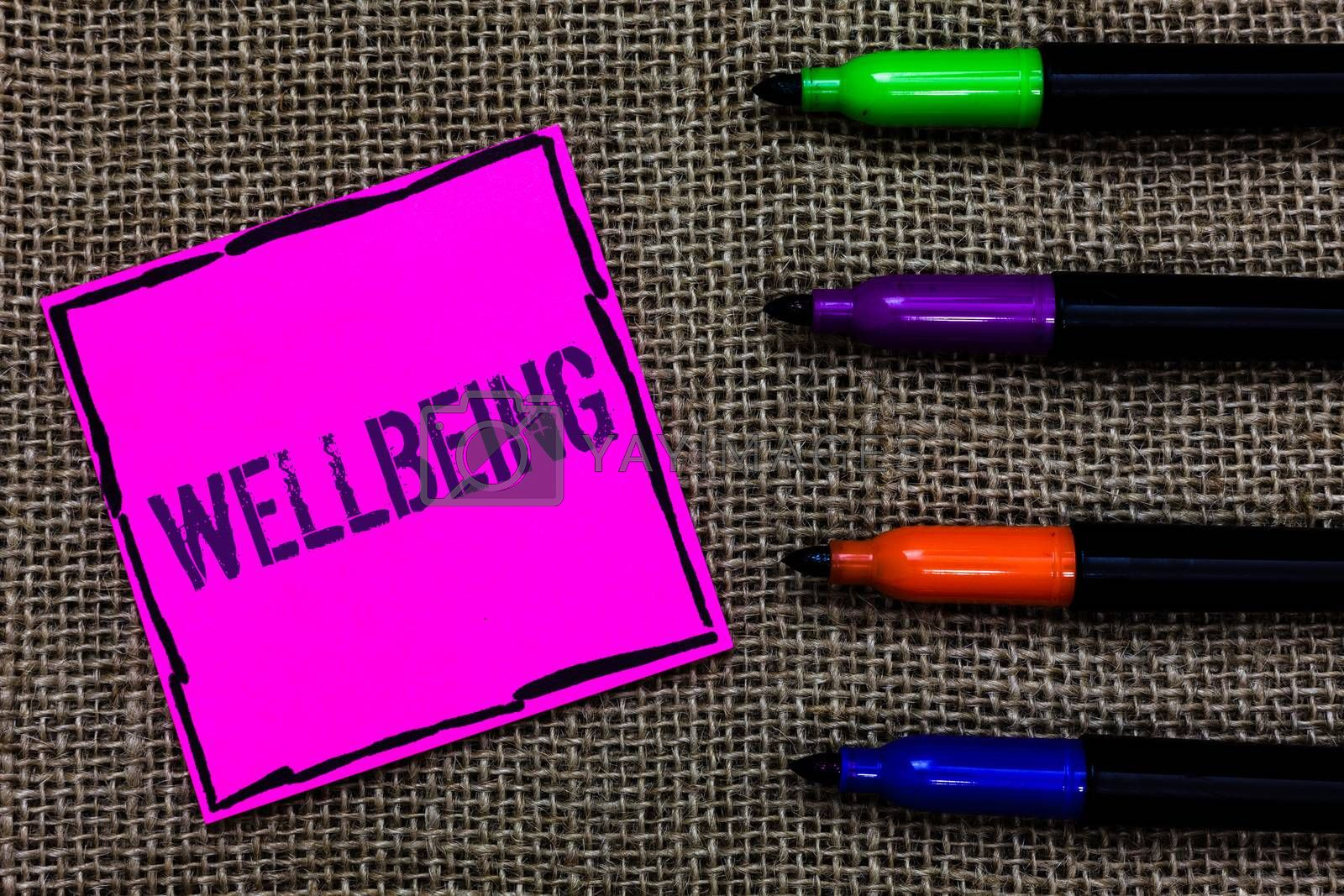 Writing note showing Wellbeing. Business photo showcasing Healthy lifestyle conditions of people life work balance Marker pens art pink paper nice mat love thought black shadow memories