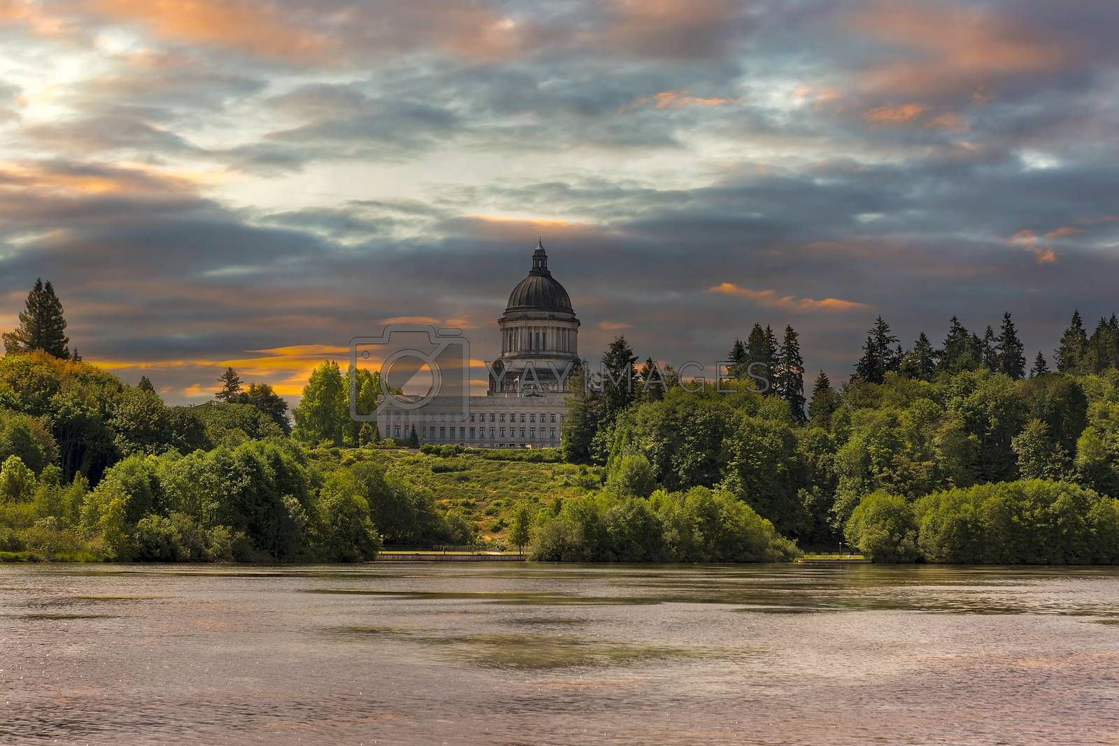 Sunrise over Capitol Lake and Building in Olympia Washington State