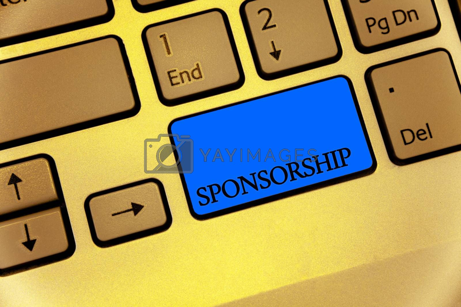Writing note showing Sponsorship. Business photo showcasing Person or company giving financial material support assistance Keyboard brown key yellow laptop computer keypad notebook netbook