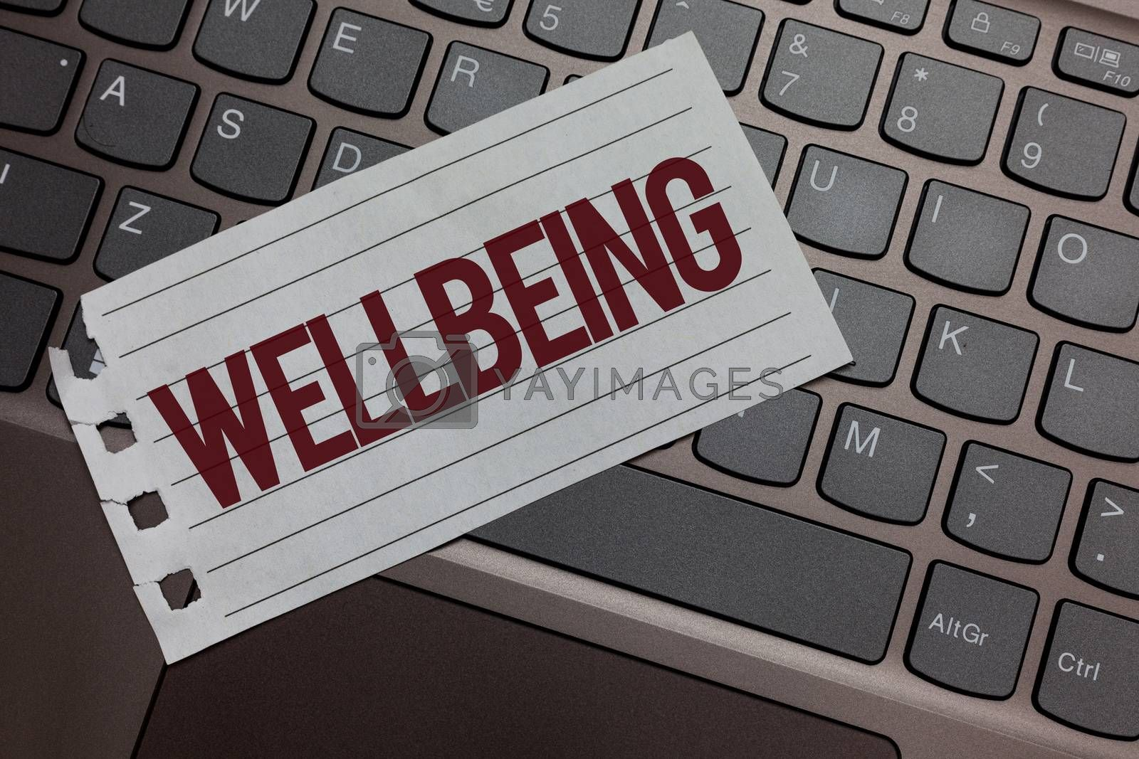 Writing note showing Wellbeing. Business photo showcasing Healthy lifestyle conditions of people life work balance Keyboard colour grey paper keys laptop creative idea computer keypad