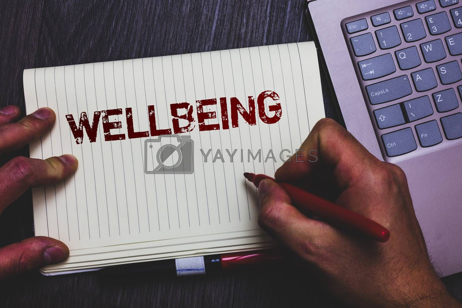 Word writing text Wellbeing. Business concept for Healthy lifestyle conditions of people life work balance Notepad marker pen ideas thoughts laptop keypad key computer netbook