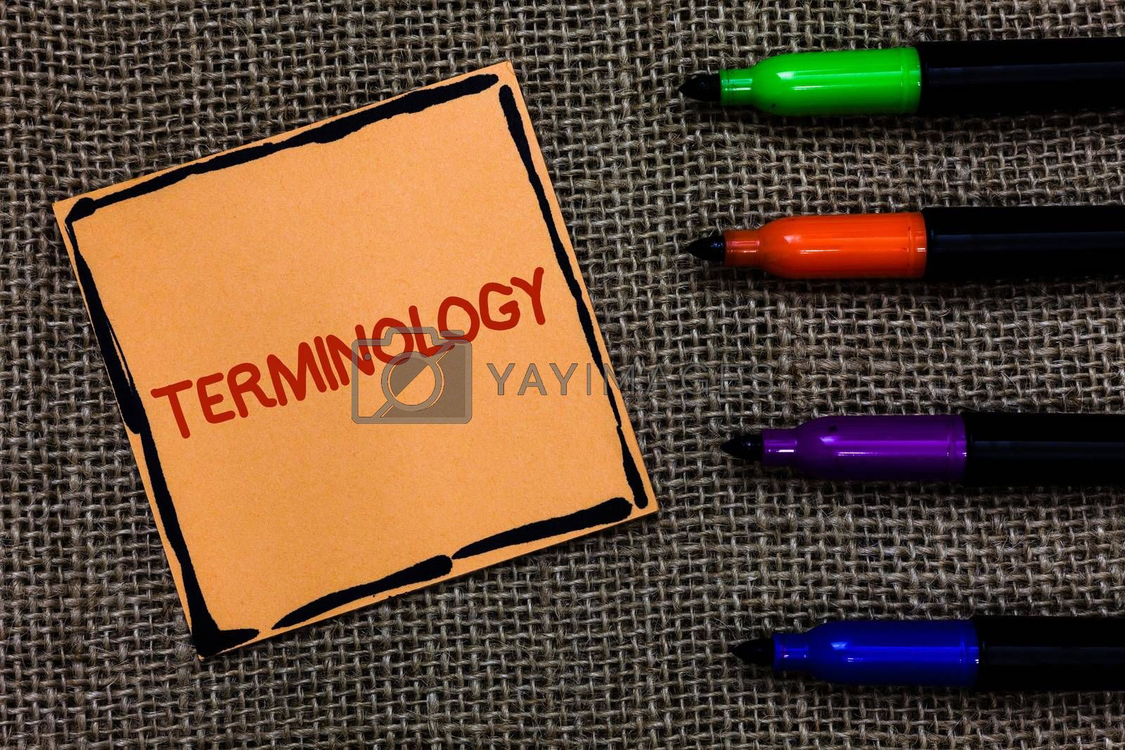 Word writing text Terminology. Business concept for Collection of terms used by different profession study industry Marker pens art board small pitch paper lovely love ideas mat black shadow