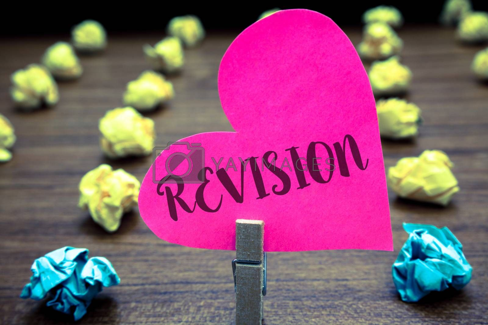 Writing note showing Revision. Business photo showcasing Rechecking Before Proceeding Self Improvement Preparation Paper objects thoughts hart crumpled papers mistakes several tries