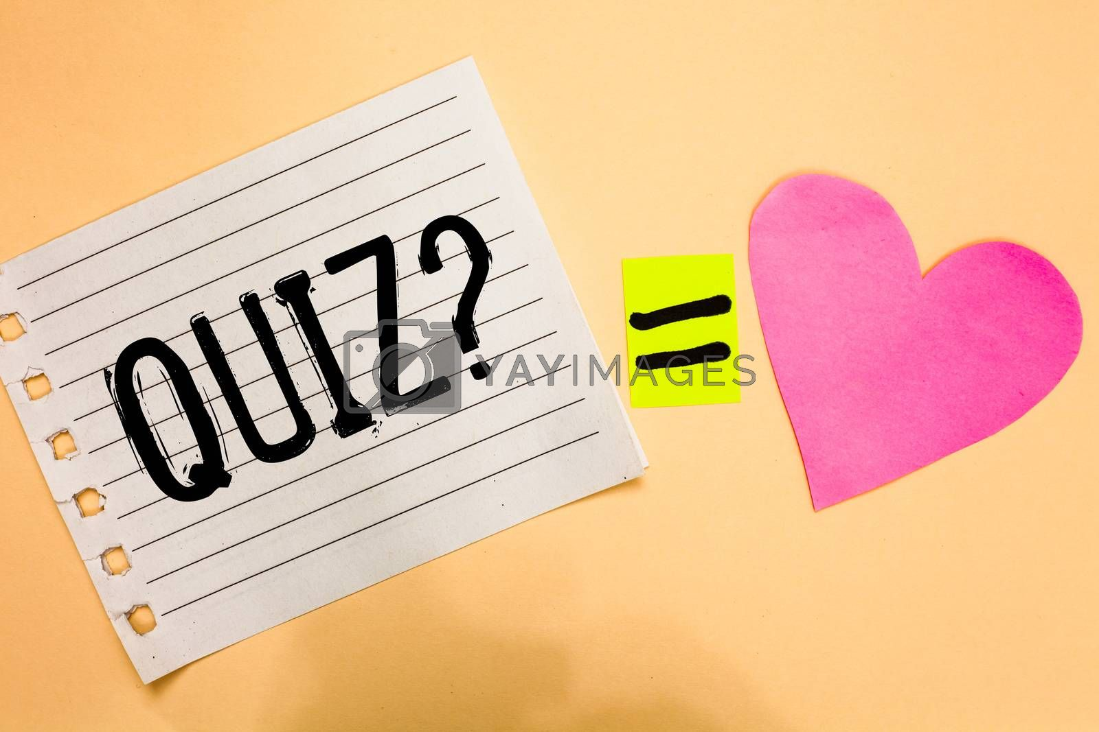 Conceptual hand writing showing Quiz Question. Business photo showcasing Short Tests Evaluation Examination to quantify your knowledge Love equation memory thought orange heart lovely art papers