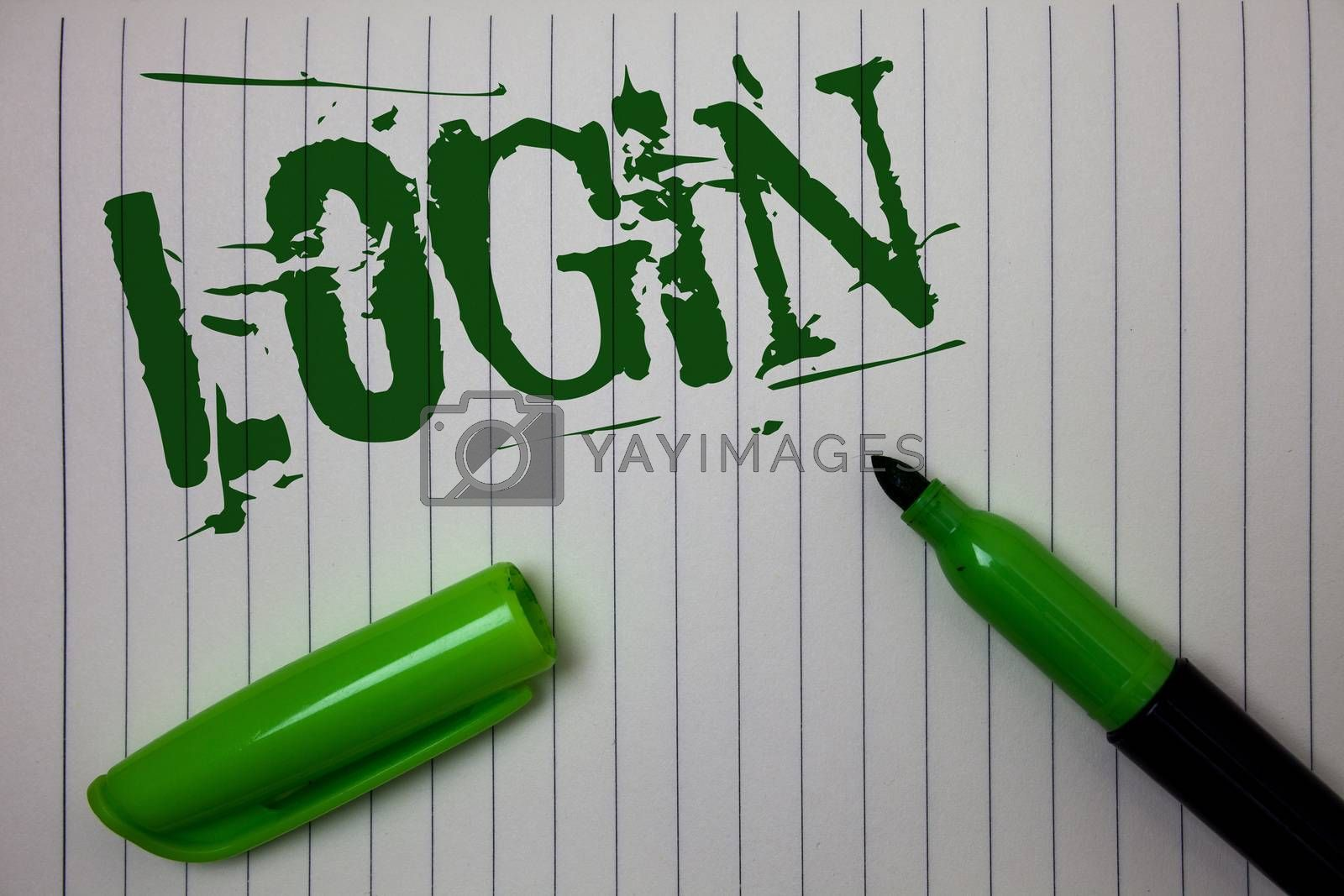 Handwriting text Login. Concept meaning Act of entering into a computer database or system Starting session Linned paper background pen cap marker highlighter ink green drawing