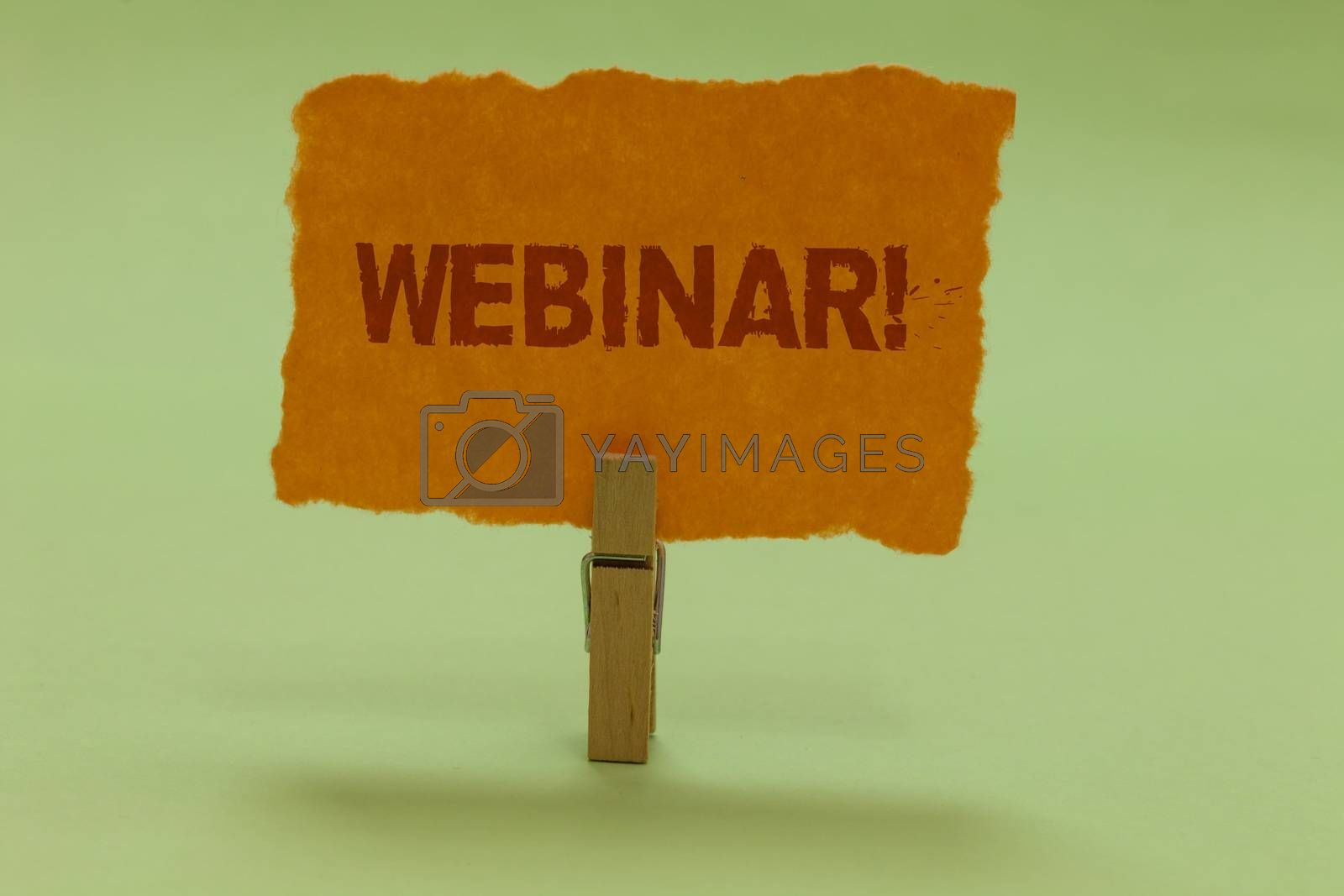 Writing note showing Webinar Motivational Call. Business photo showcasing Internet distance learning web elearning Nice lime colour grey shadow art work board important clip paperclip