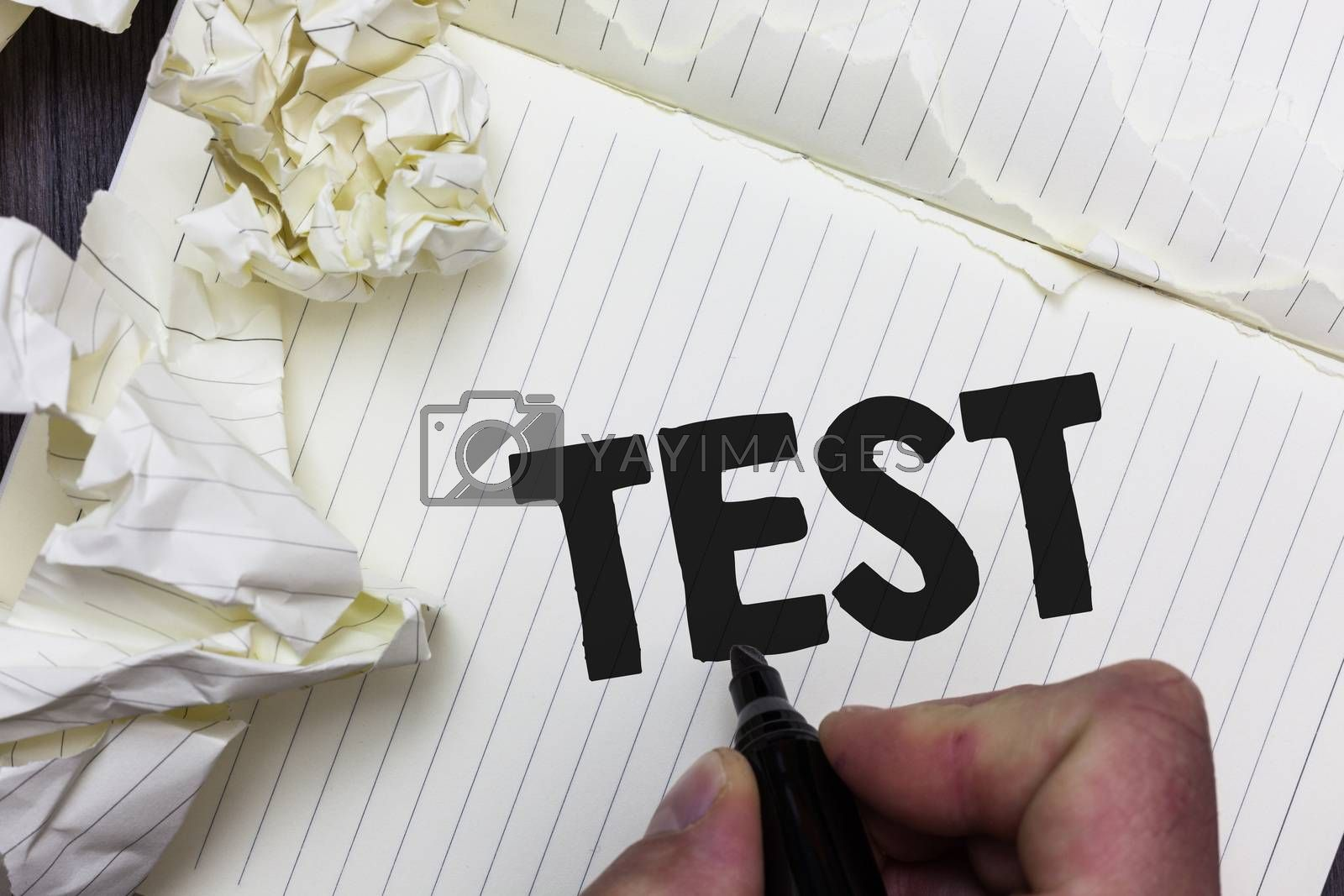 Conceptual hand writing showing Test. Business photo showcasing Academic systemic procedure assess reliability durability proficiency Paper object notepad crumpled papers ideas several tries