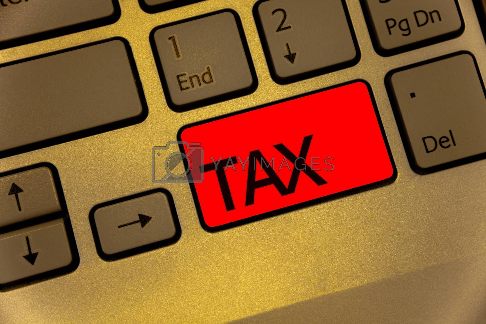 Text sign showing Tax. Conceptual photo Compulsory payment of taxes by people to government increase revenue Keyboard brown key yellow laptop creative computer keypad netbook notebook