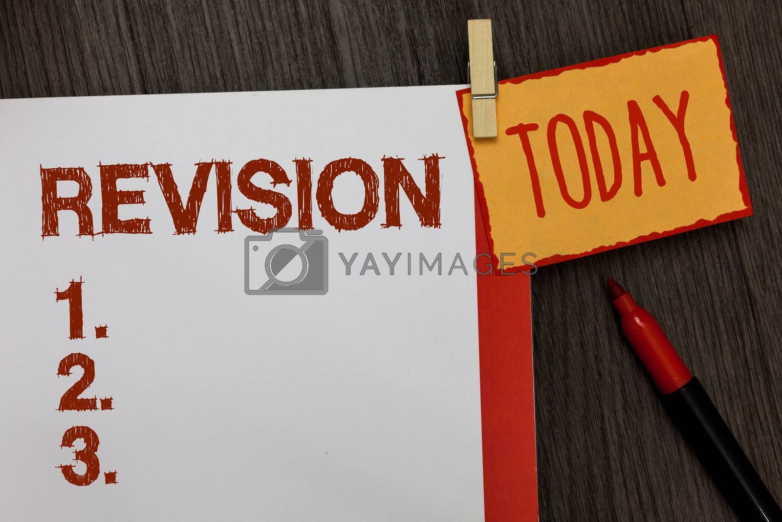 Word writing text Revision. Business concept for Rechecking Before Proceeding Self Improvement Preparation Work dairy marker pen listed paper colour clip paperclip daily work list