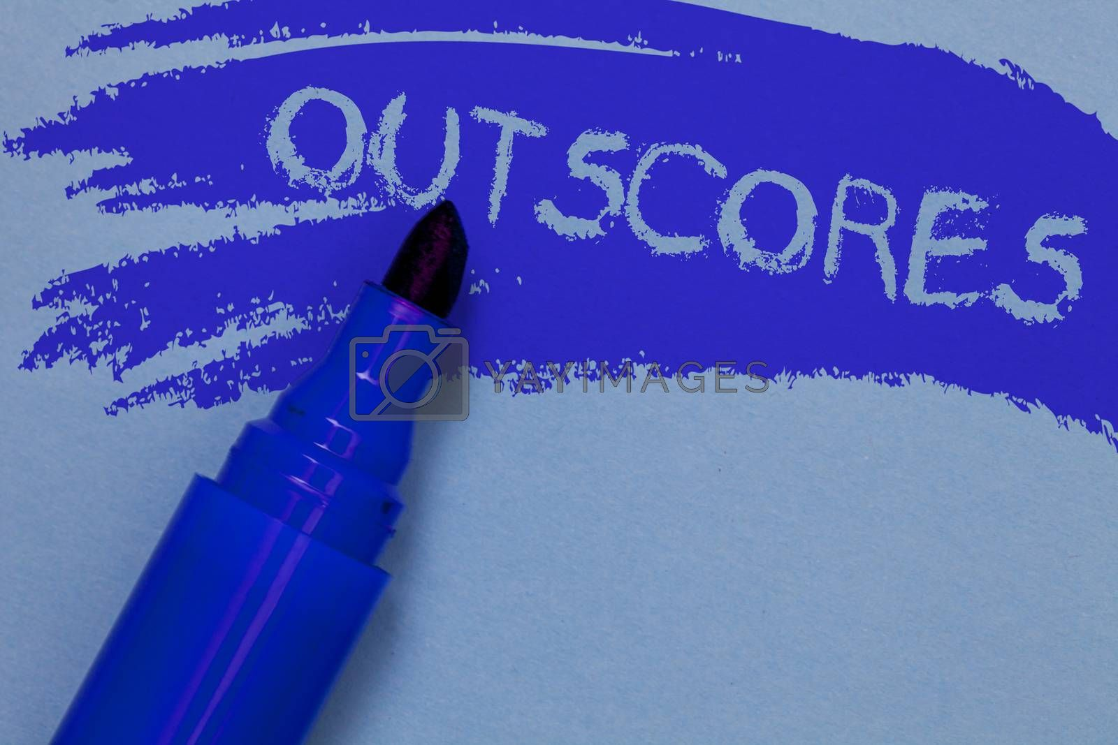 Writing note showing Outscores. Business photo showcasing Score more point than others Examination Tests running Health care Bold blue marker colouring sketch work type idea text plain background