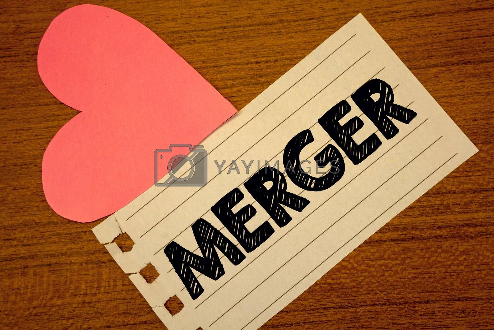 Word writing text Merger. Business concept for Combination of two things or companies Fusion Coalition Unification Paperpiece page heart table background typing job clerk study material