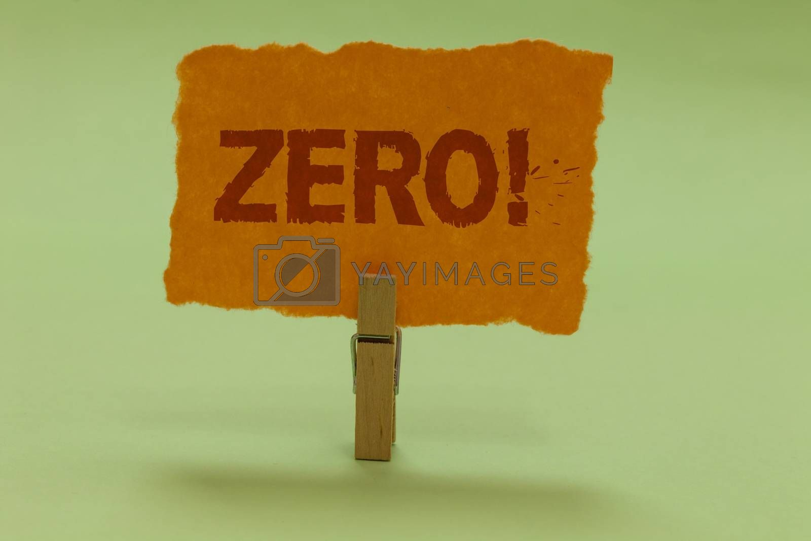 Writing note showing Zero Motivational Call. Business photo showcasing The emptiness nothingness of something no value Nice lime colour grey shadow art work board important clip paperclip