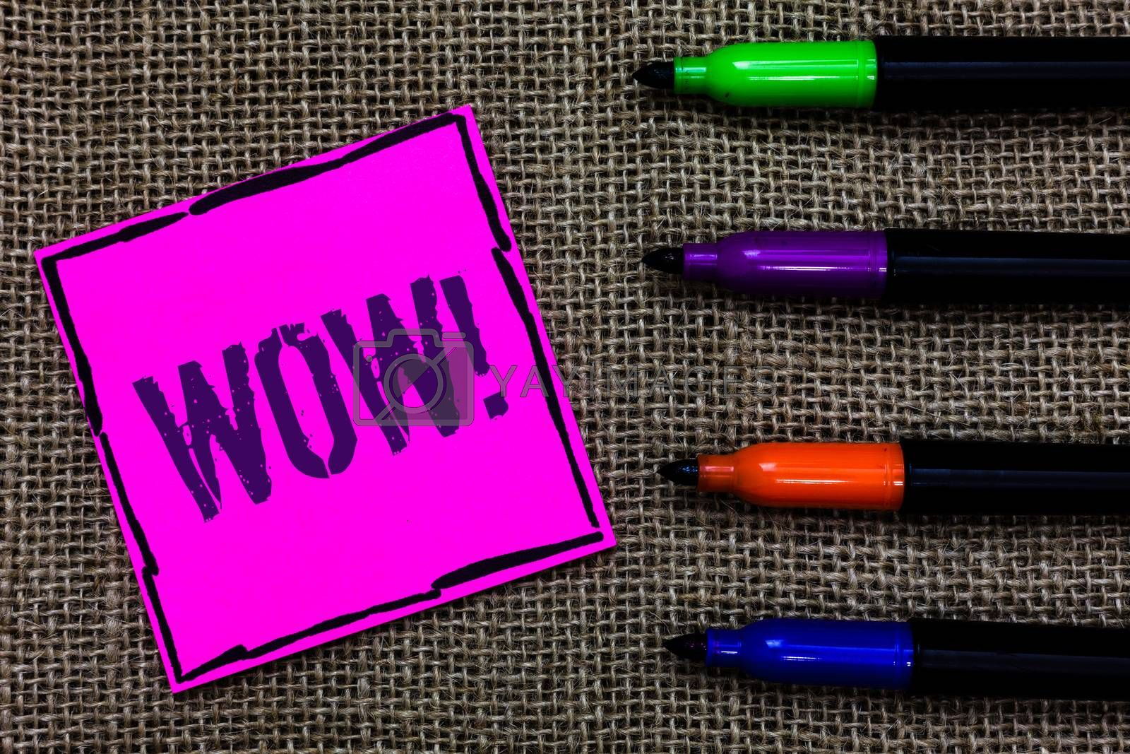Writing note showing Wow Motivational Call. Business photo showcasing Expression of somebody speechless amazed overjoyed Marker pens art pink paper nice mat love thought black shadow memories