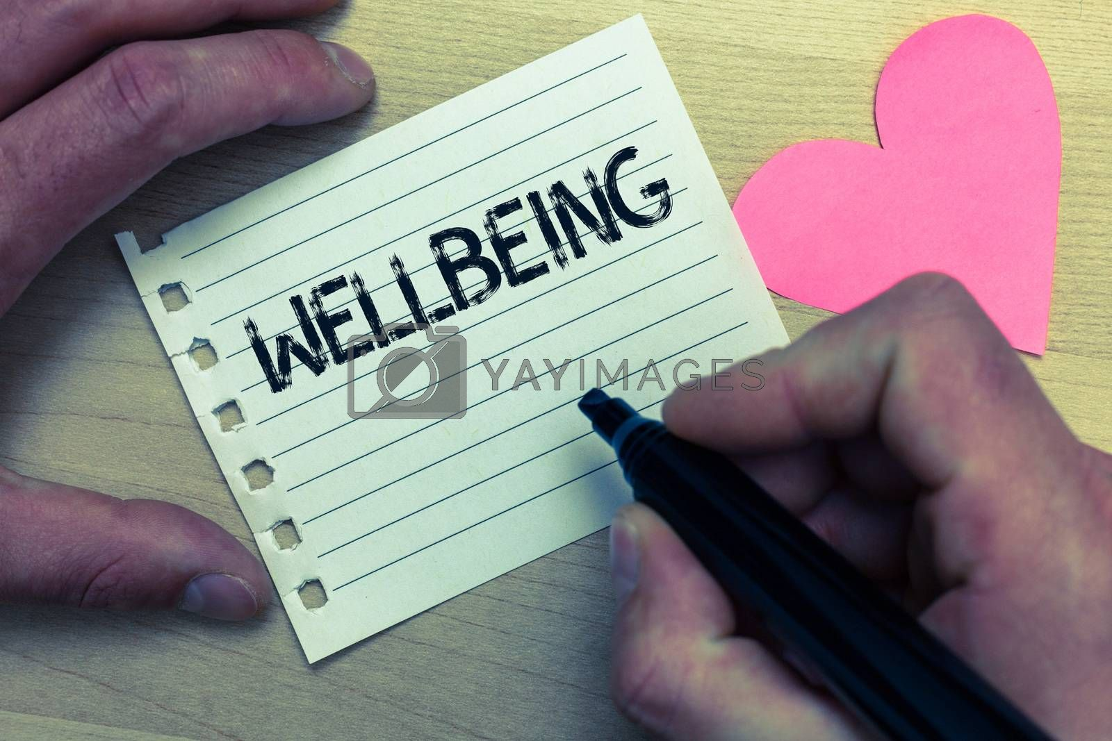 Text sign showing Wellbeing. Conceptual photo Healthy lifestyle conditions of people life work balance Wood nice love colour hart marker pen art work memories black shadow